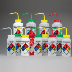 Image:  Right-to-Know, Safety-Vented™ Wash Bottles with GHS Labeling