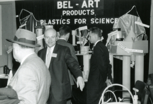 image: Kurt Landsberger at an early tradeshow for Bel-Art Products