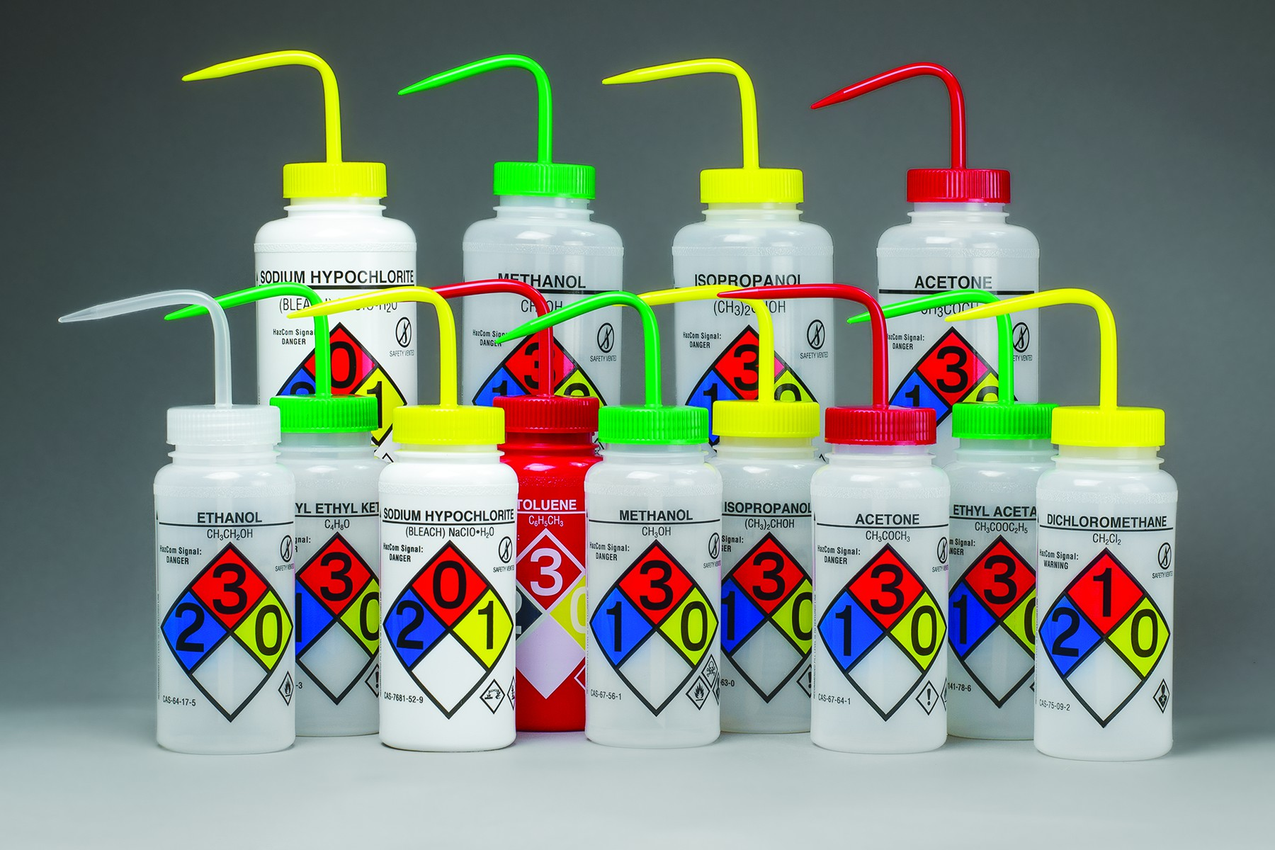 It is an image of Unusual Ghs Label Wash Bottles