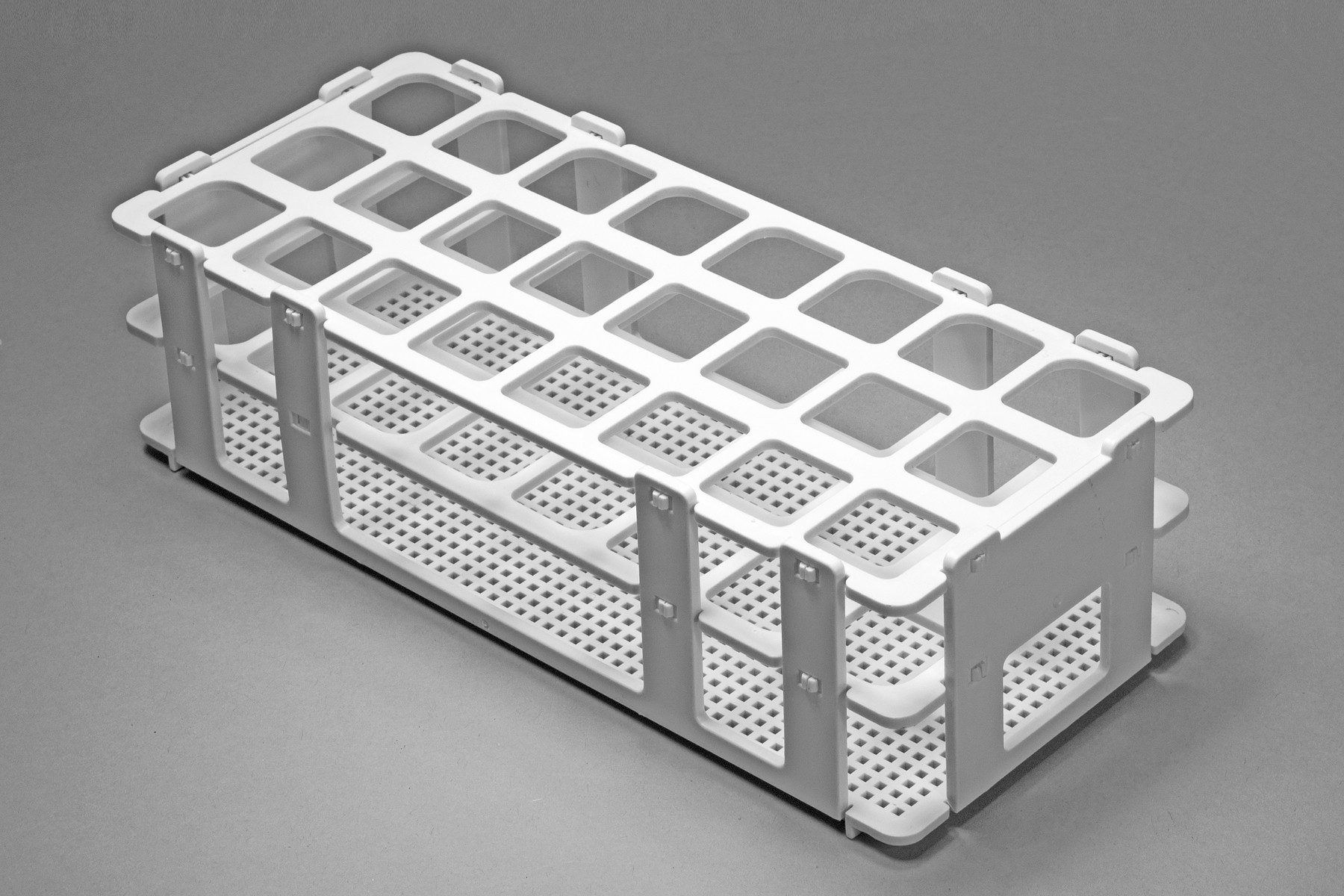 Bel-Art No-Wire Test Tube Rack; For 20-25mm Tubes, 24 Places, White ...