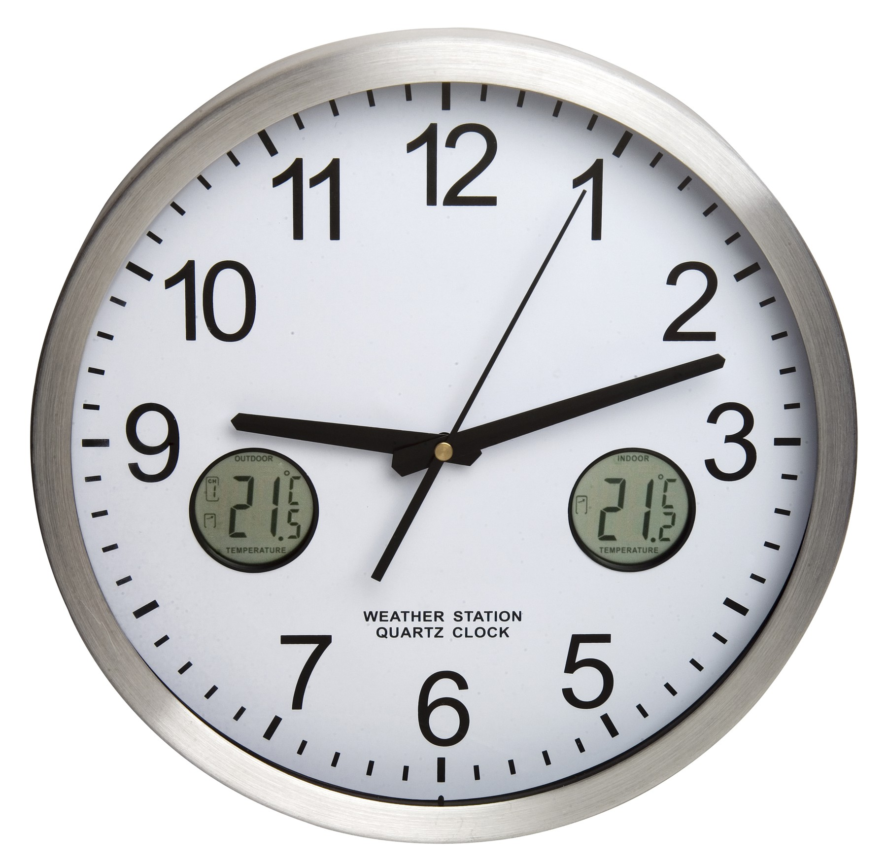 H-B DURAC Multi-Function Analog Clock with Indoor/Outdoor ...