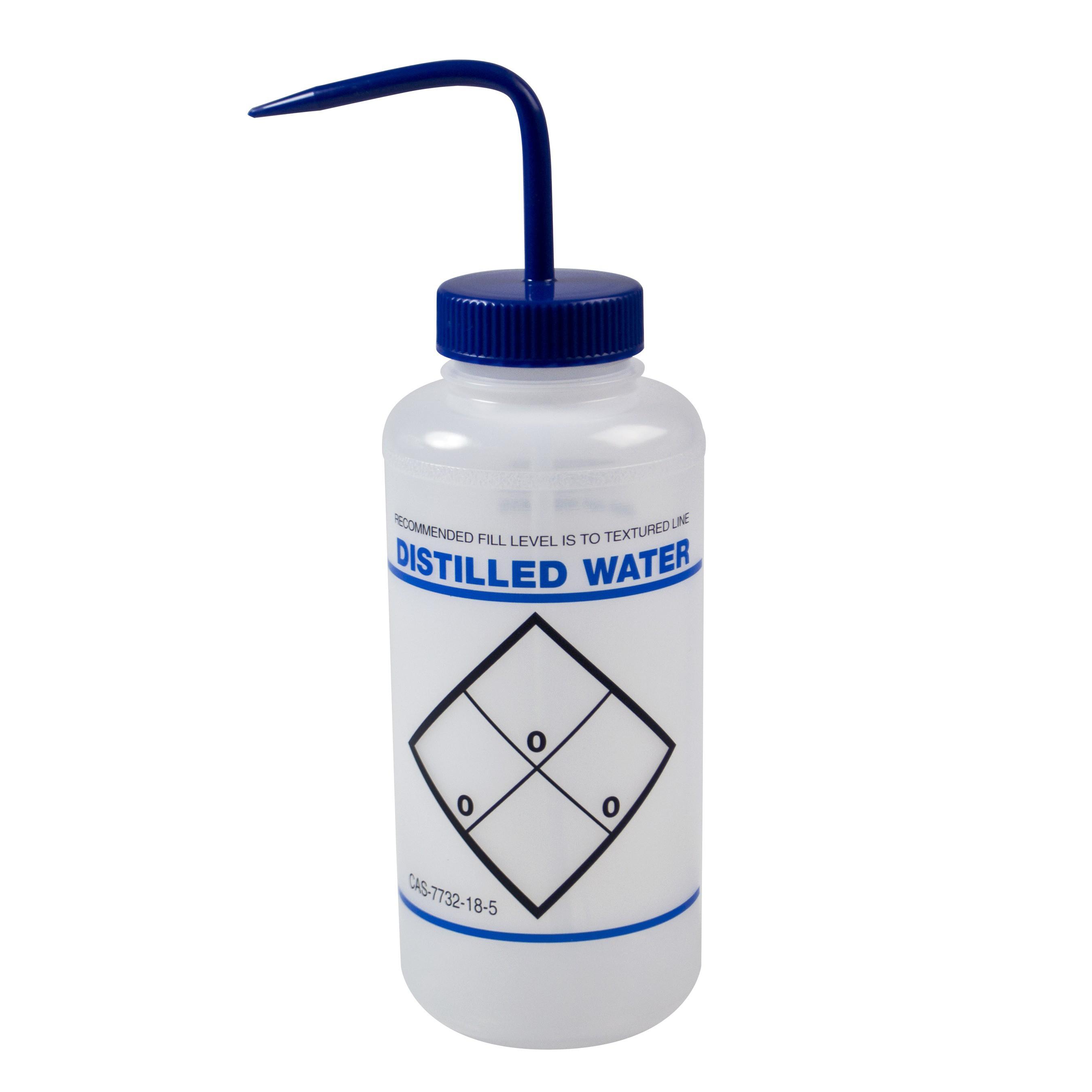 Bel-Art Safety-Labeled 2-Color Distilled Water Wide-Mouth Wash Bottles; 1000ml (32oz), Polyethylene w/Blue Polypropylene Cap (Pack of 6)
