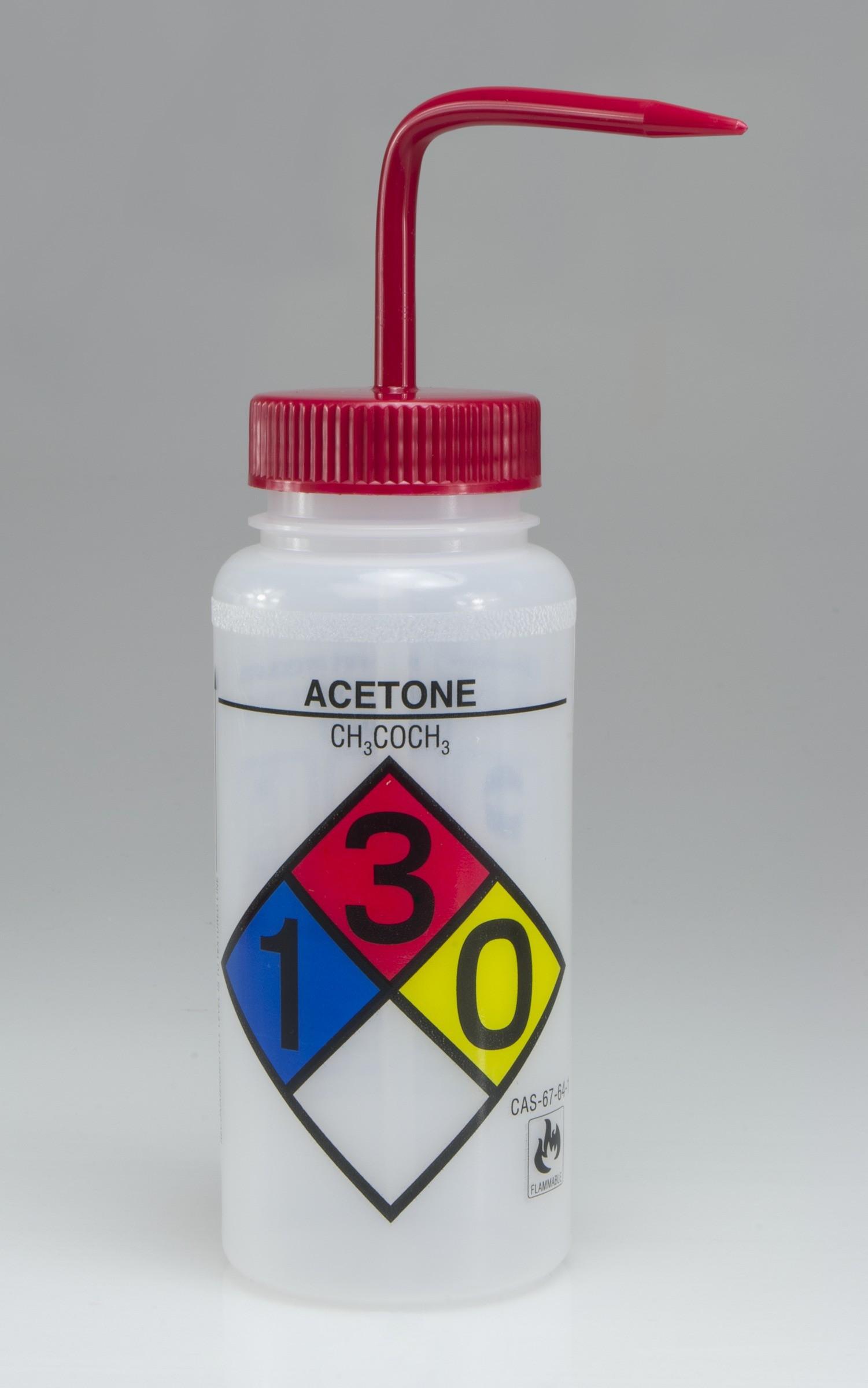 SP Bel-Art Safety-Labeled 4-Color Acetone Wide-Mouth Wash Bottles; 500ml (16oz), Polyethylene w/Red Polypropylene Cap (Pack of 4)