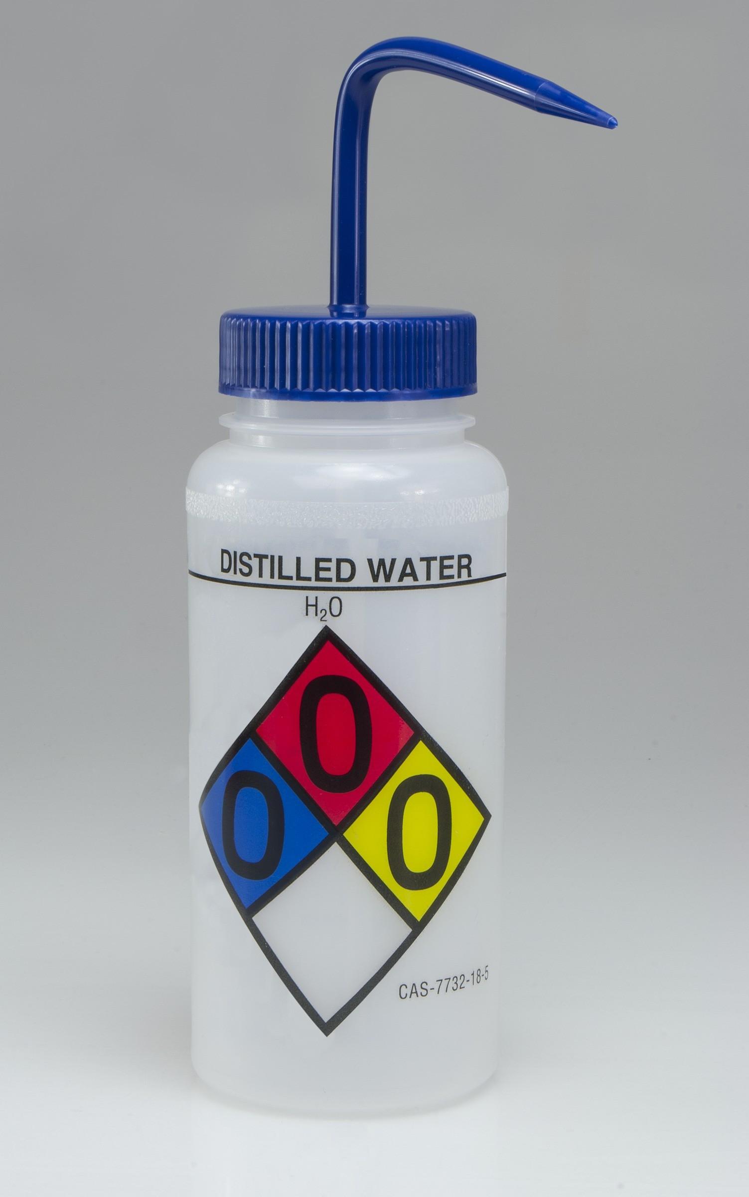 SP Bel-Art Safety-Labeled 4-Color Distilled Water Wide-Mouth Wash Bottles; 500ml (16oz), Polyethylene w/Blue Polypropylene Cap (Pack of 4)