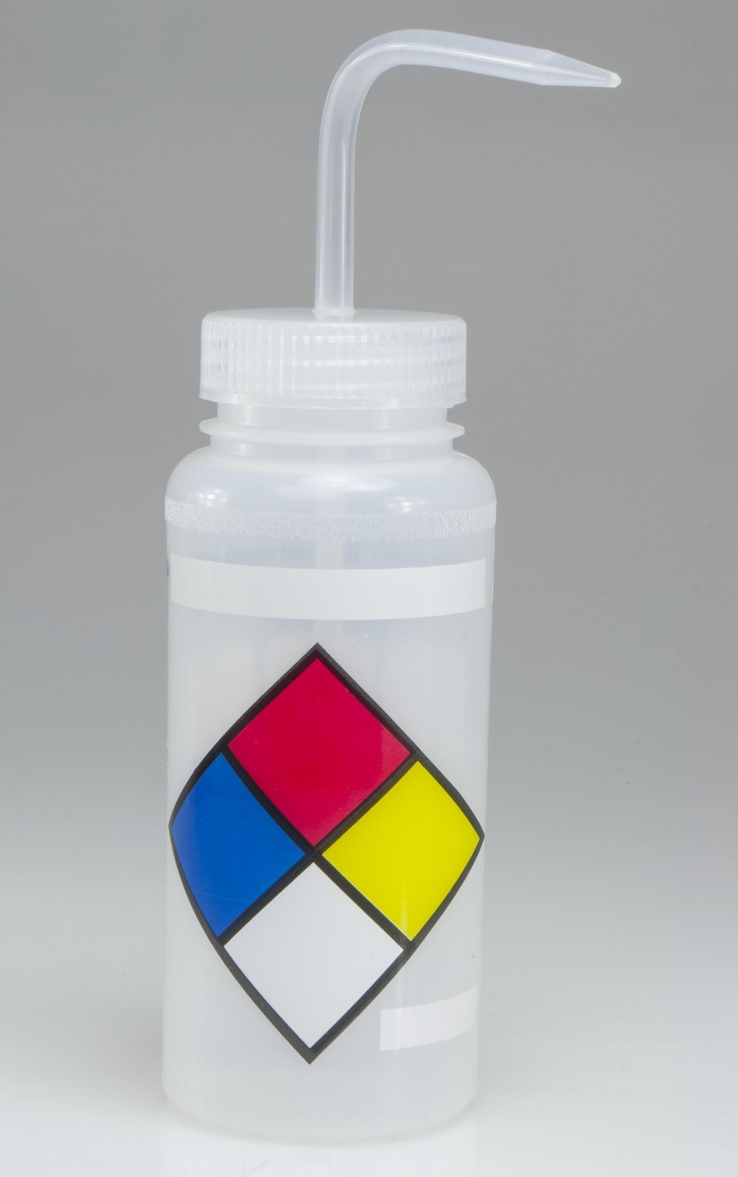 SP Bel-Art Safety-Labeled 4-Color LYOB Wide-Mouth Wash Bottles; 500ml (16oz), Polyethylene w/Natural Polypropylene Cap (Pack of 4)