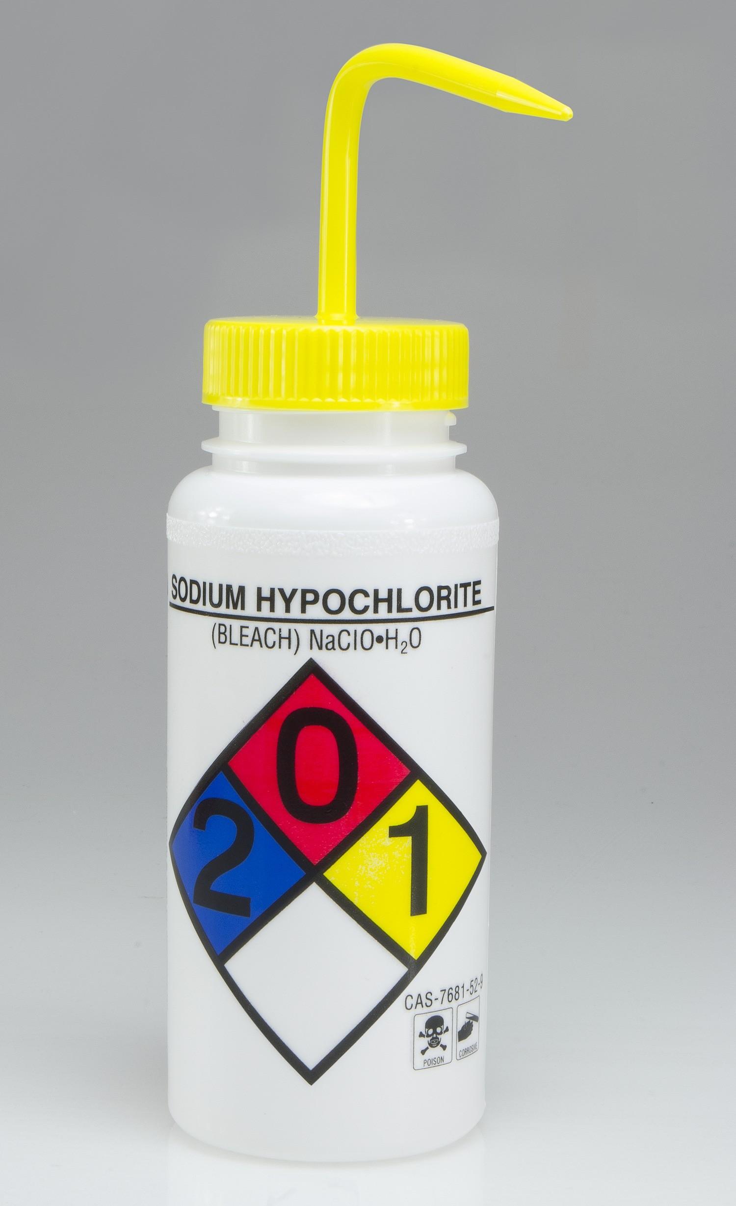 SP Bel-Art Wide-Mouth, Safety-Labeled 500ml Bleach Wash Bottle (Pack of 4)
