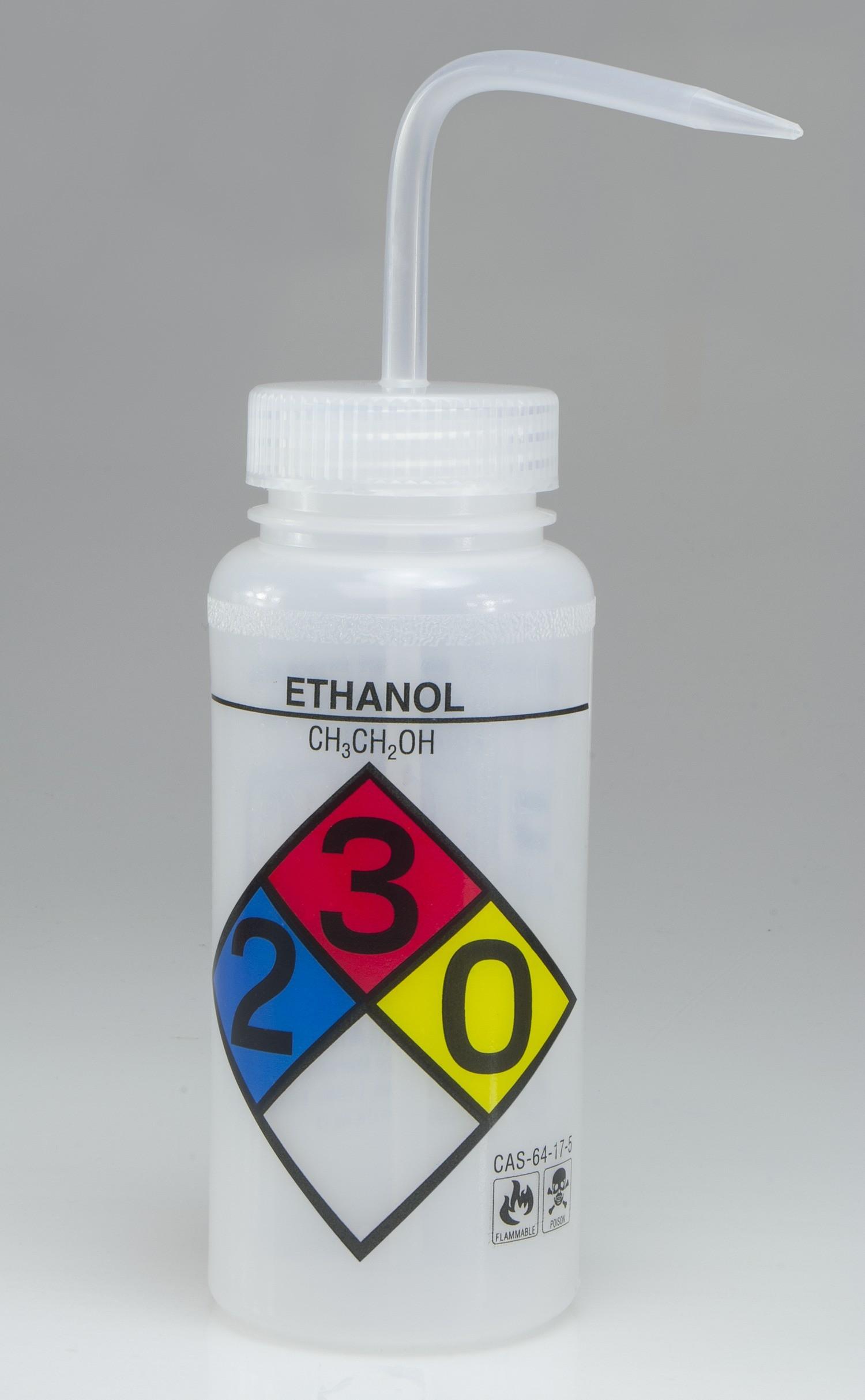 SP Bel-Art Safety-Labeled 4-Color Ethanol Wide-Mouth Wash Bottles; 500ml (16oz), Polyethylene w/Natural Polypropylene Cap (Pack of 4)