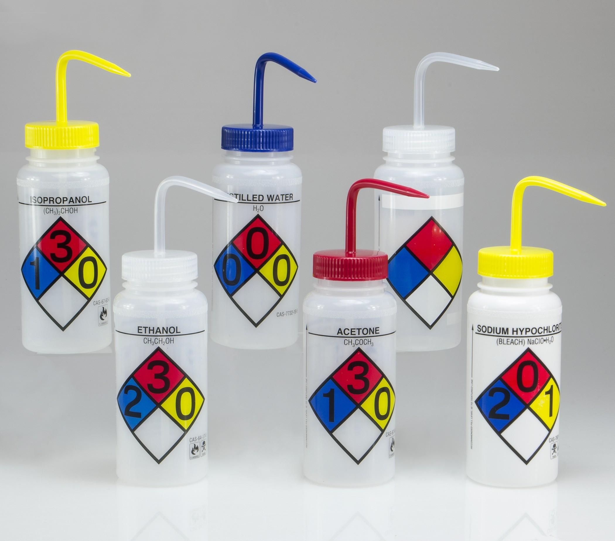 SP Bel-Art Safety-Labeled Assorted 4-Color Wide-Mouth Wash Bottles; 500ml (16oz), Polyethylene w/Polypropylene Cap, (Pack of 6)