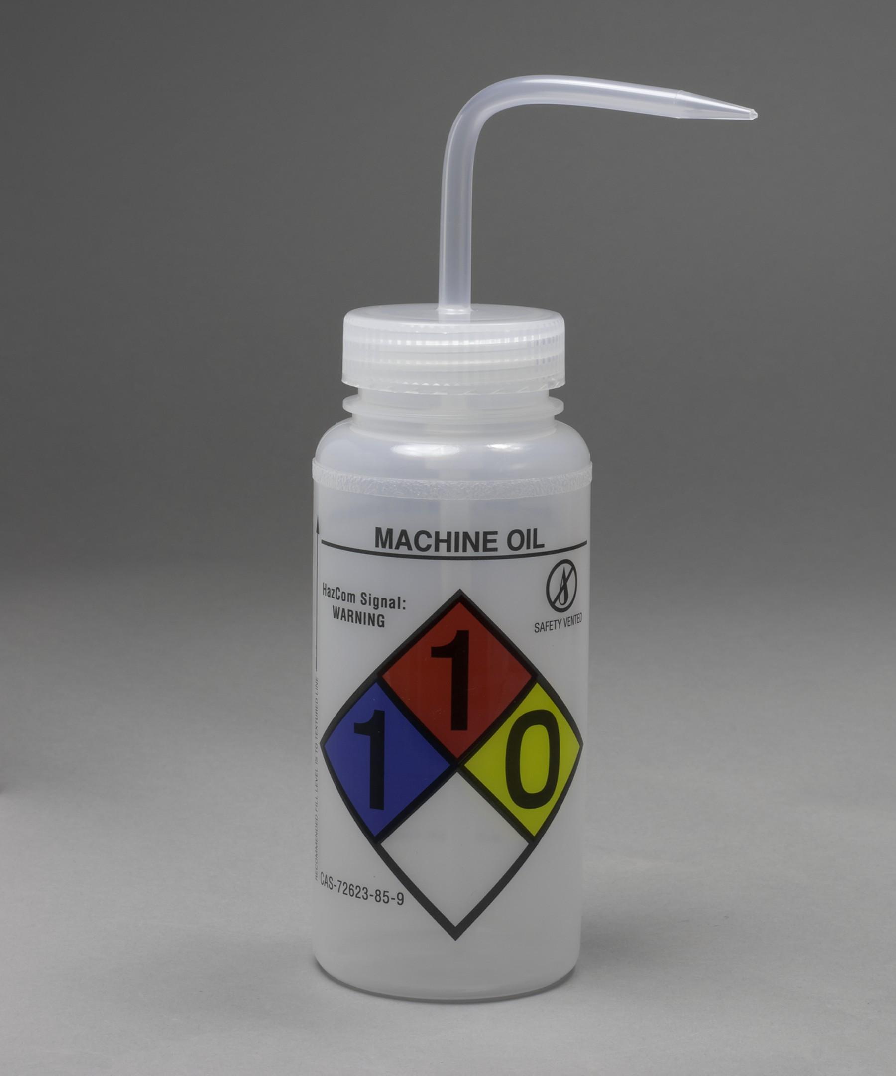 Bel-Art GHS Labeled Safety-Vented Machine Oil Wash Bottles