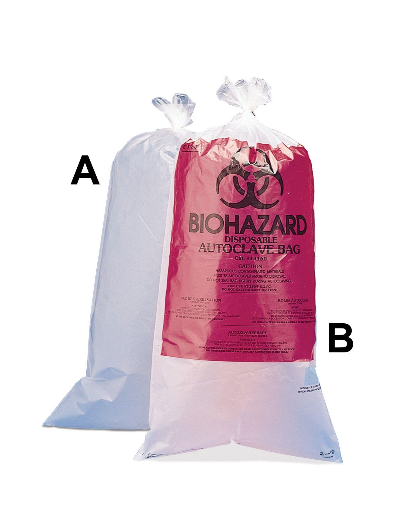SP Bel-Art Clear Biohazard Disposal Bags with Warning Label; 1.5 mil Thick, 15-20 Gallon Capacity, Polypropylene (Pack of 100)