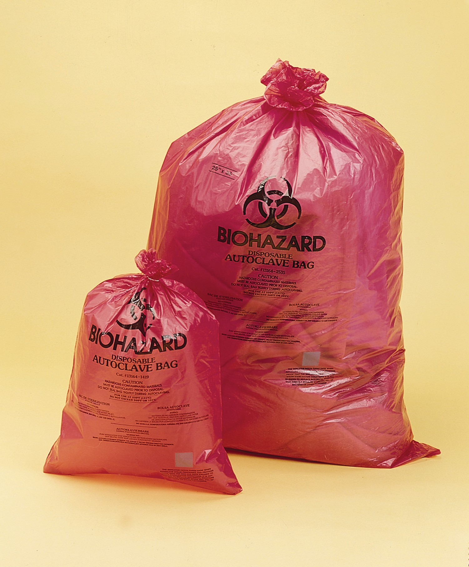 SP Bel-Art Red Biohazard Disposal Bags with Warning Label/Sterilization Indicator; 1.5mil Thick, 13-20 Gallon Capacity, Polypropylene (Pack of 200)