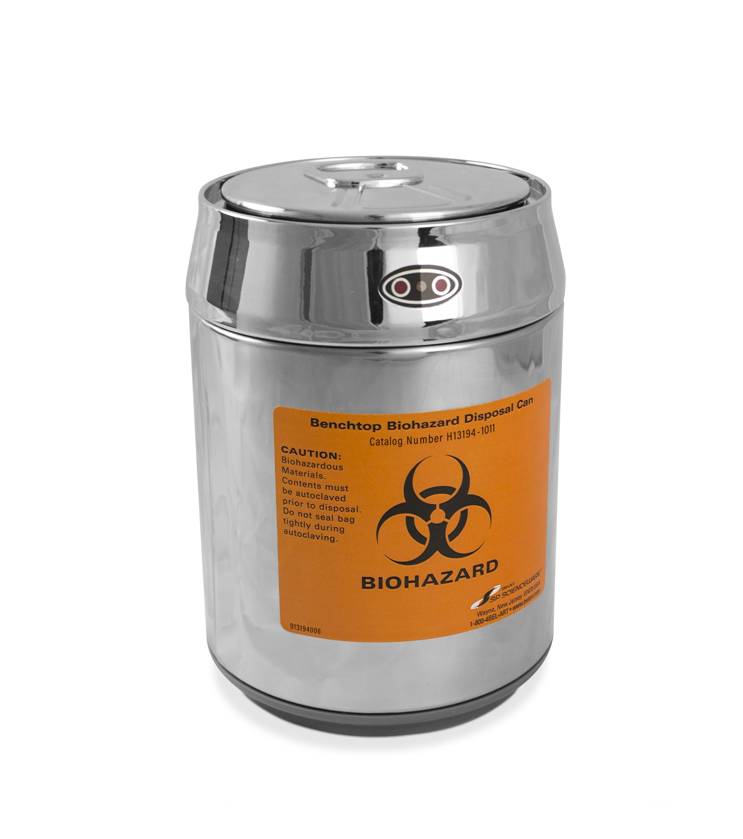 Benchtop Biohazard Disposal Can with Motion Sensor Lid