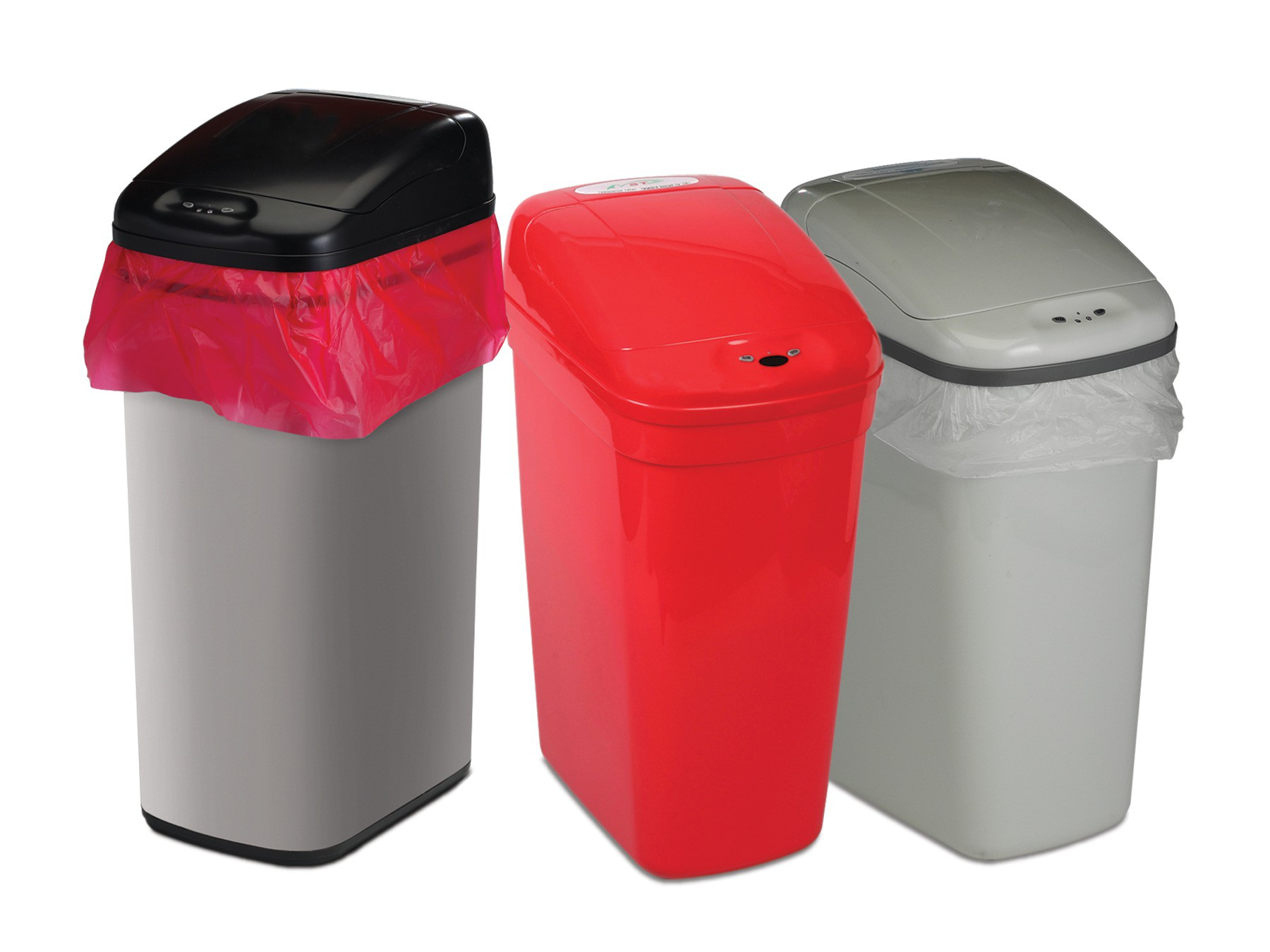 Bel-Art Touch Free Stainless Steel 12 Gallon Automatic Waste Can with Black Lid