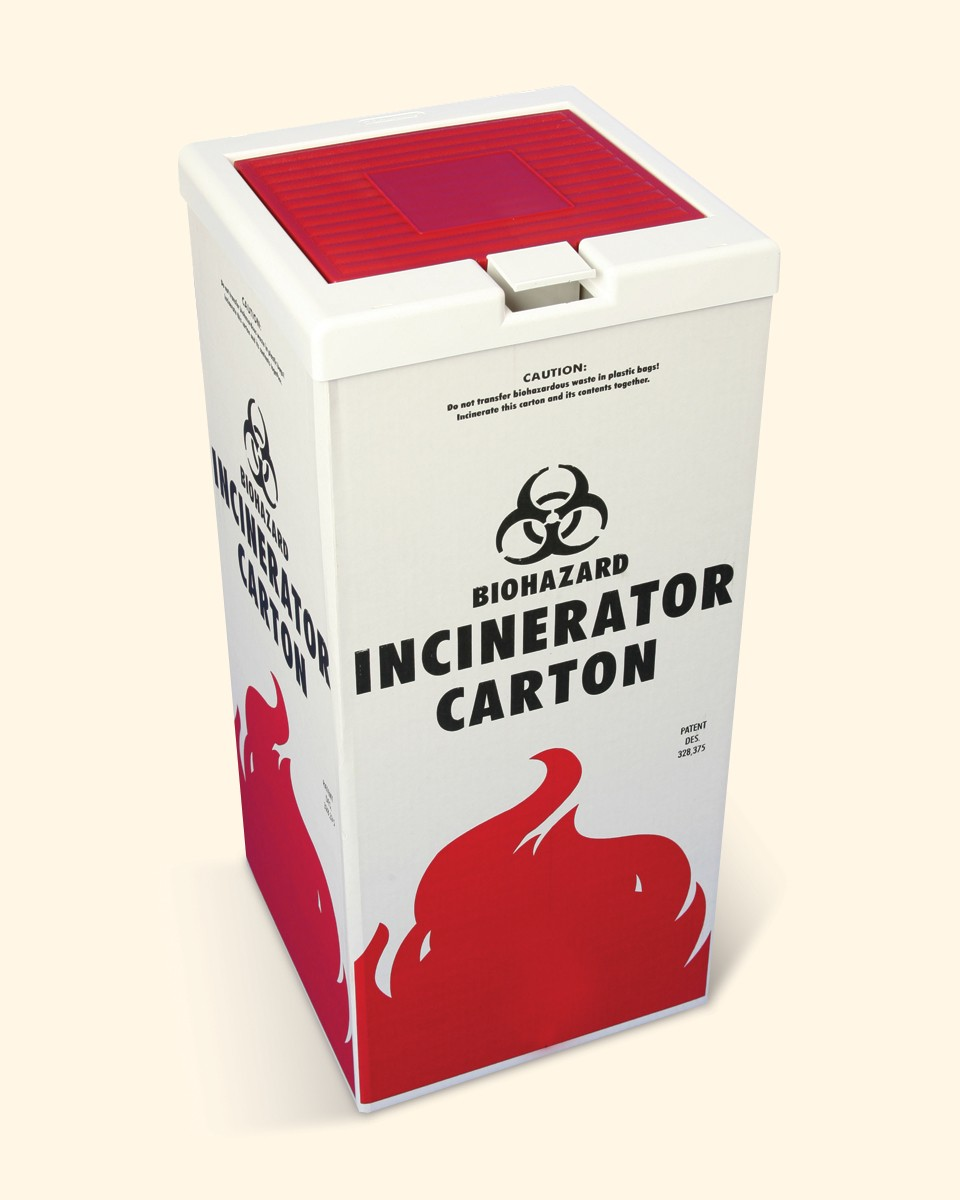 Cover for Biohazard Incinerator Disposal Carton
