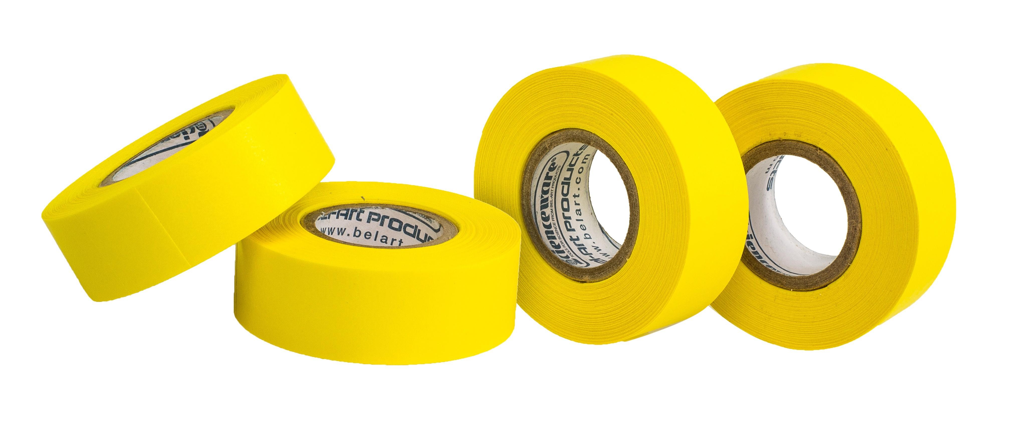 SP Bel-Art Write-On Yellow Label Tape; 15yd Length, ³/₄ in. Width, 1 in. Core (Pack of 4)