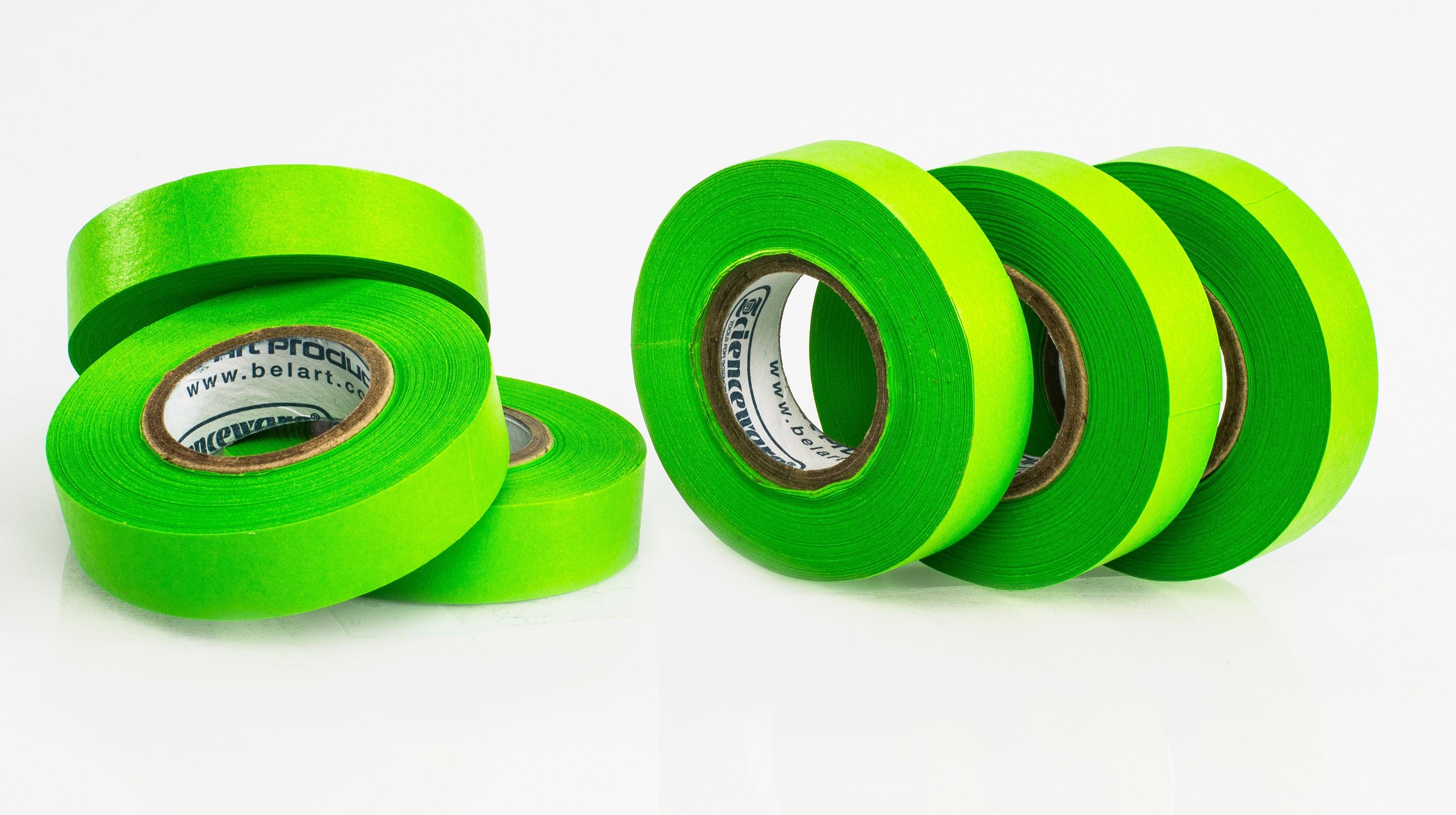 SP Bel-Art Write-On Green Label Tape; 15yd Length, ¹/₂ in. Width, 1 in. Core (Pack of 6)