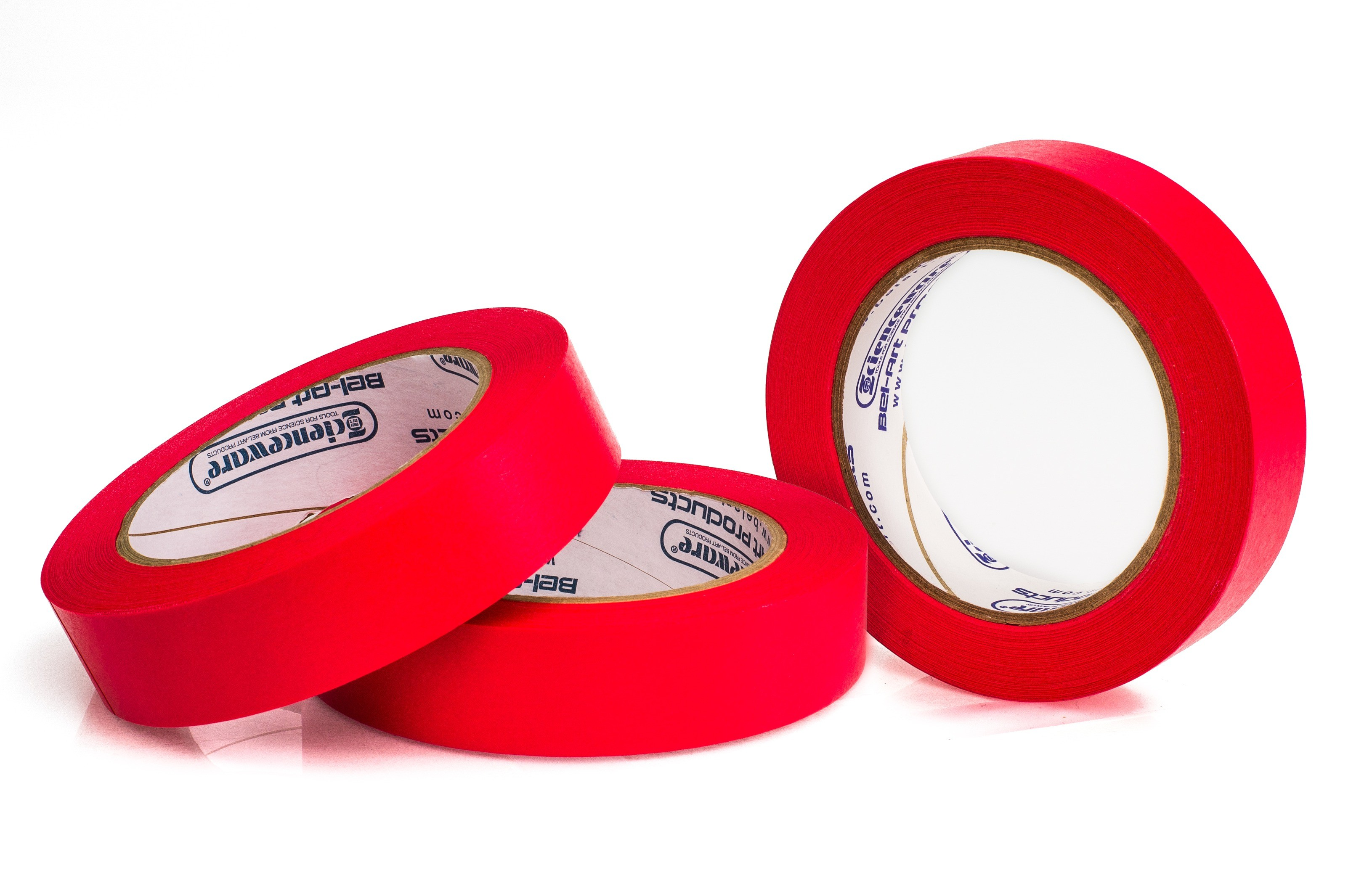 SP Bel-Art Write-On Red Label Tape; 40yd Length, 1 in. Width, 3 in. Core (Pack of 3)