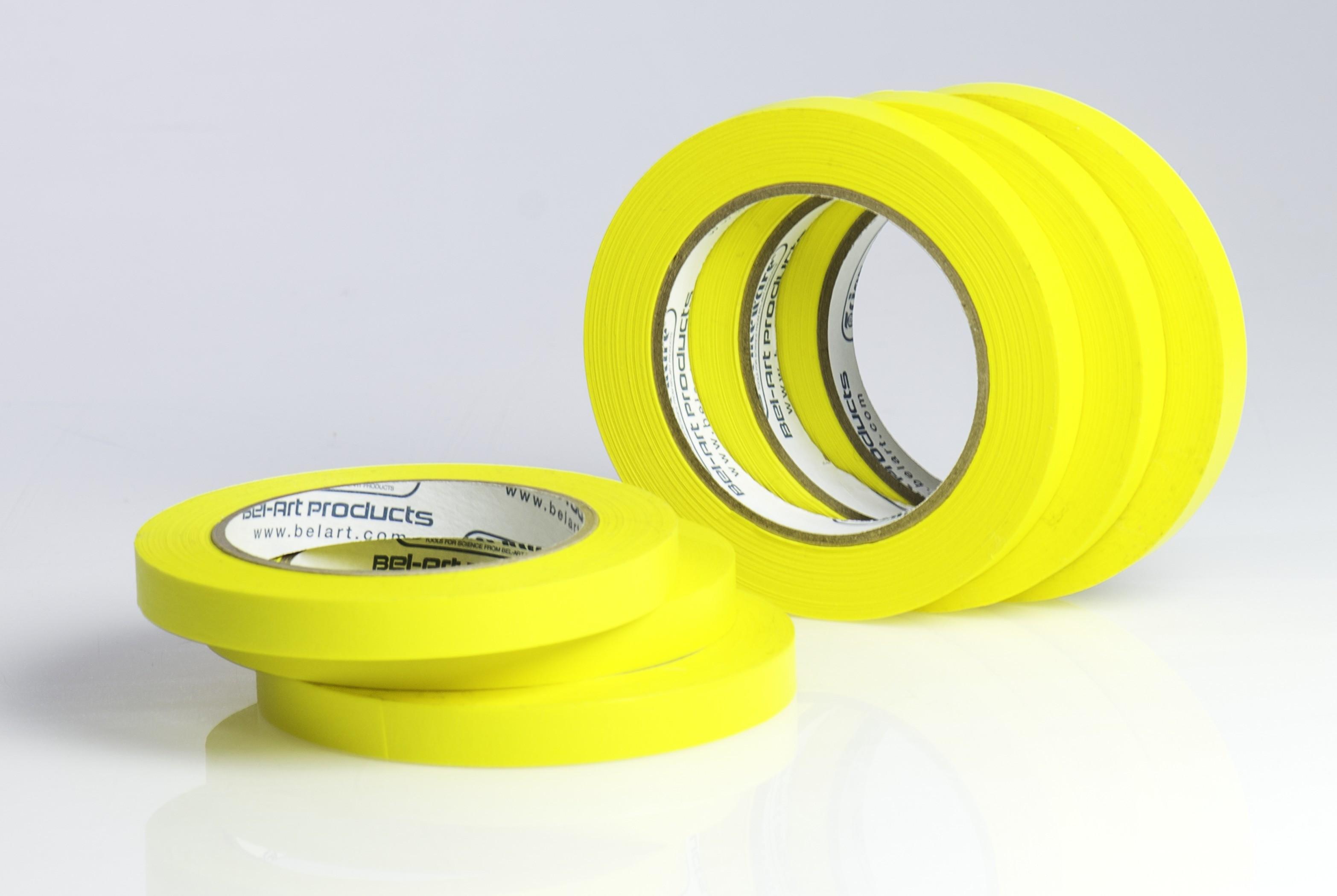 SP Bel-Art Write-On Yellow Label Tape; 40yd Length, ¹/₂ in. Width, 3 in. Core (Pack of 6)