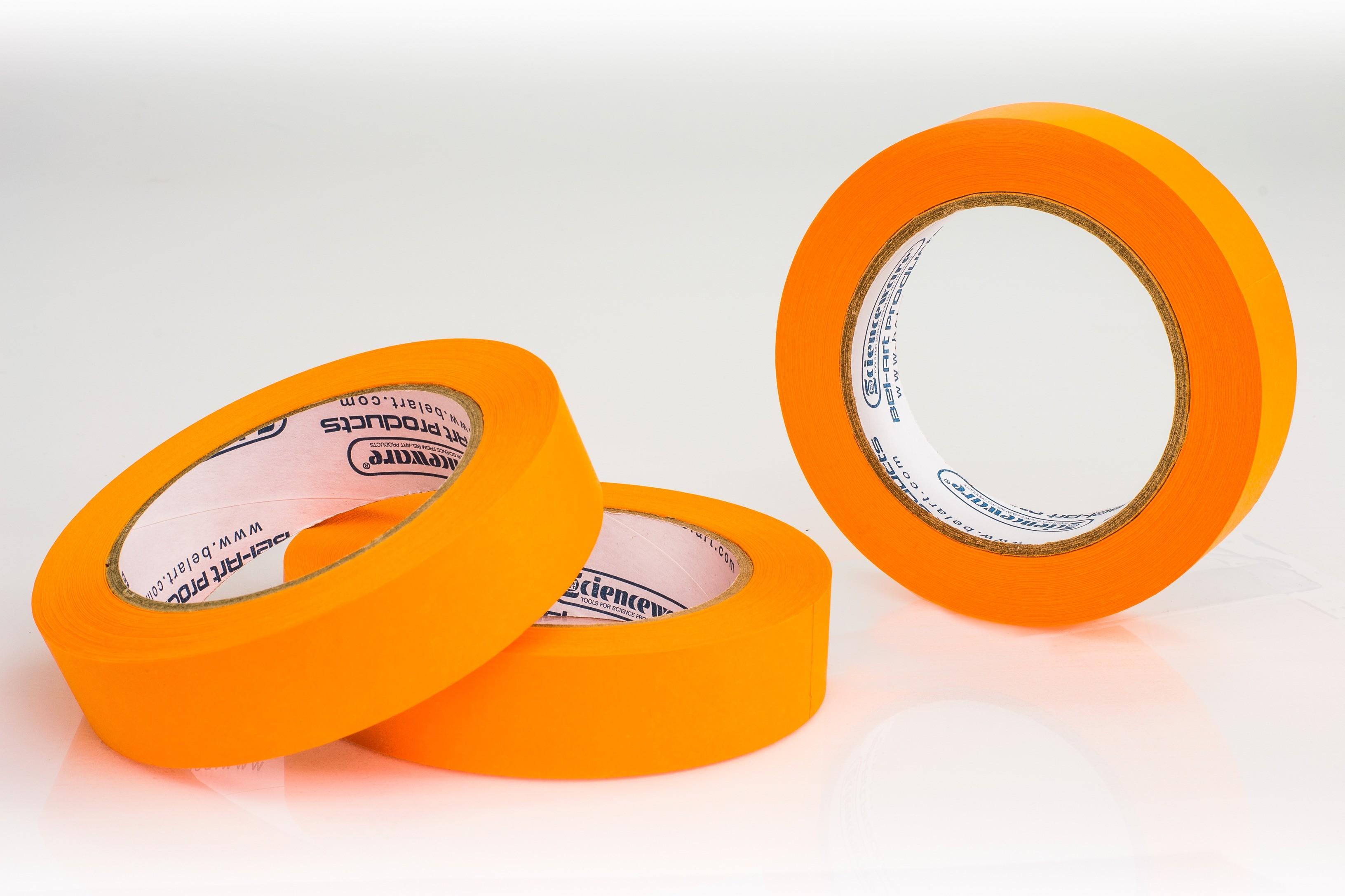 SP Bel-Art Write-On Orange Label Tape; 40yd Length, 1 in. Width, 3 in. Core (Pack of 3)