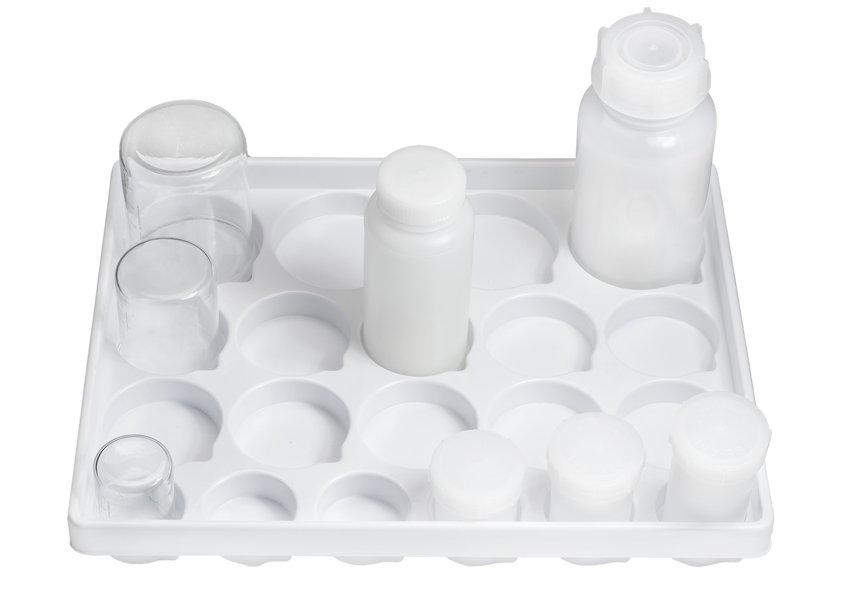 SP Bel-Art Lab Drawer Compartment Tray for Beakers, Flasks, Jars; 20 Wells, 14 x 17½ x 2¼ in.