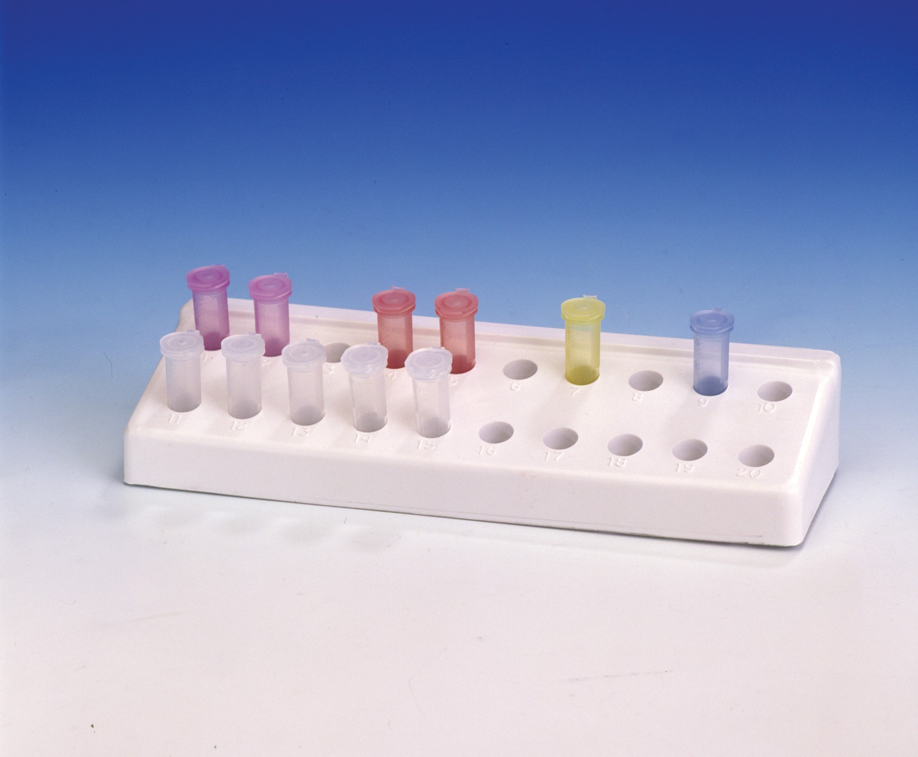 Pack of 5 Bel-Art F18845-0031 Microcentrifuge Tube Rack; 0.5 or 1.5-2.0ml Polypropylene Assorted Colors 96 Places