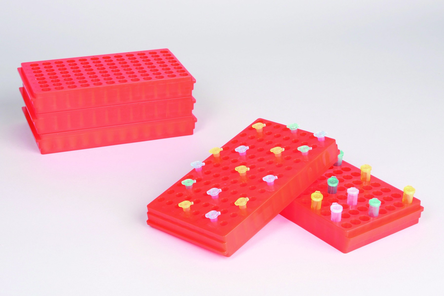 SP Bel-Art Microcentrifuge Tube Rack; For 0.5 or 1.5-2.0ml Tubes, 96 Places, Orange (Pack of 5)