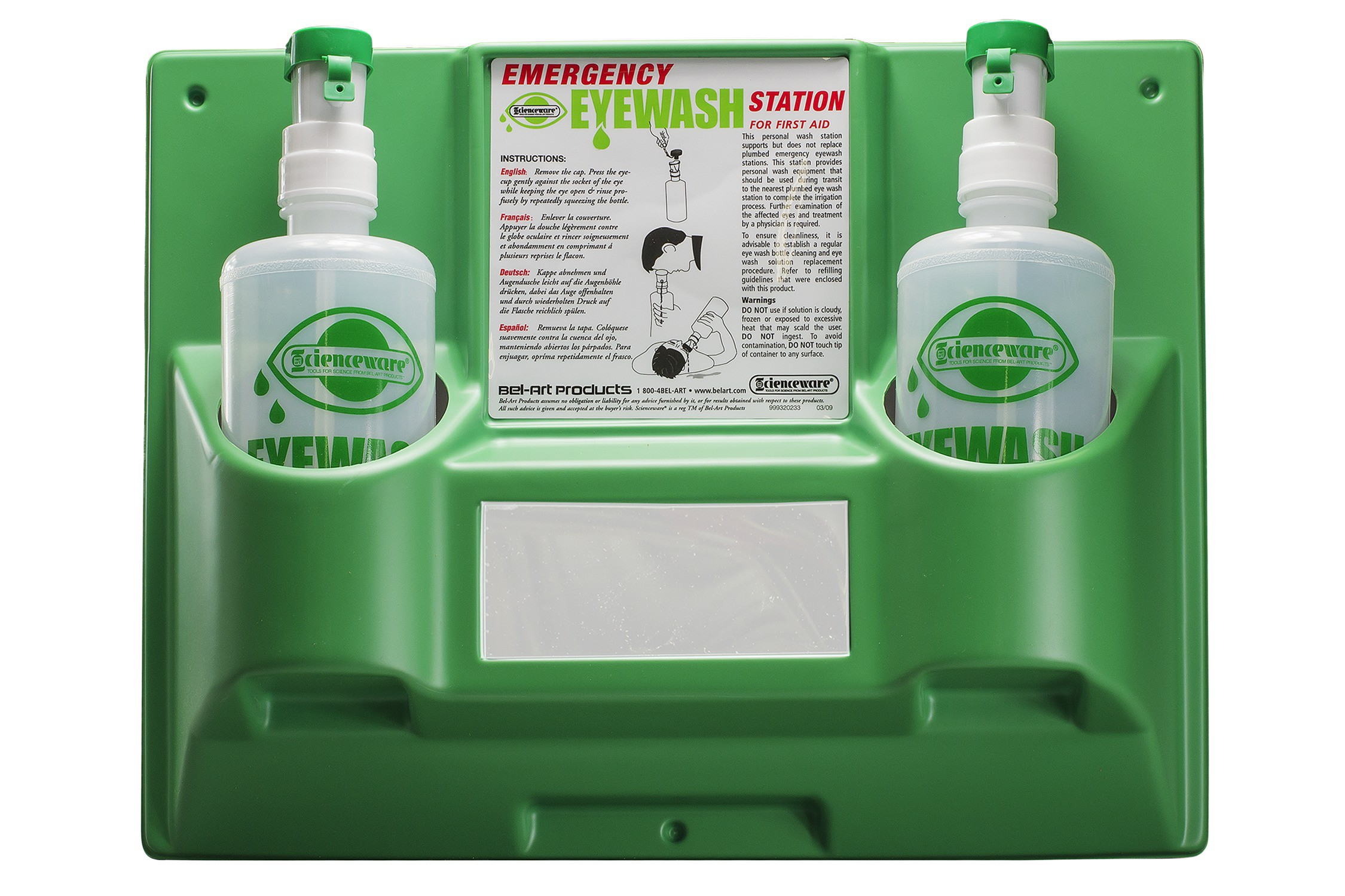 SP Bel-Art Emergency Eye Wash Safety Station; 2 Bottles, 1000ml (x2)