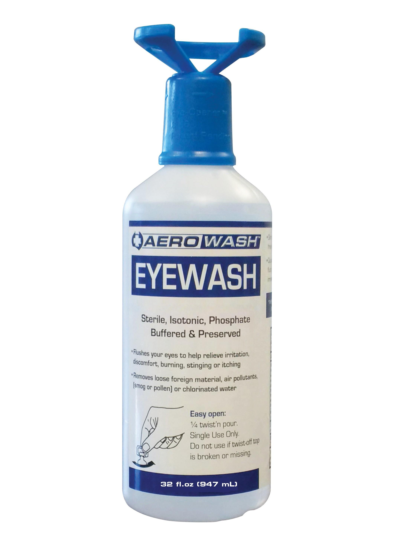 Aero Eye Wash Safety Solution; Buffered pH Neutralizing, 32oz with Eye-Opener (Pack of 3)