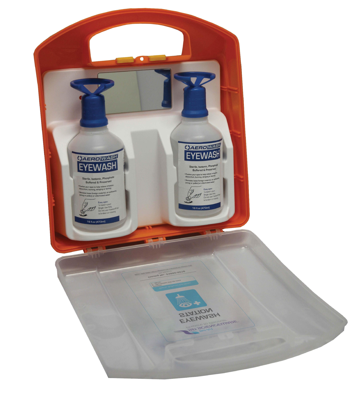 Aero Eye Wash Wall-Mount Station; Buffered pH Neutralizing Safety Solution, Dual 16oz Bottles
