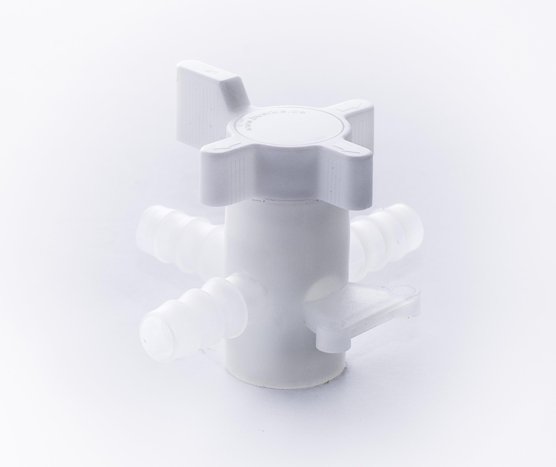 SP Bel-Art Three-Way Fluoroplastic Stopcock for 10mm Tubing; 8mm Bore