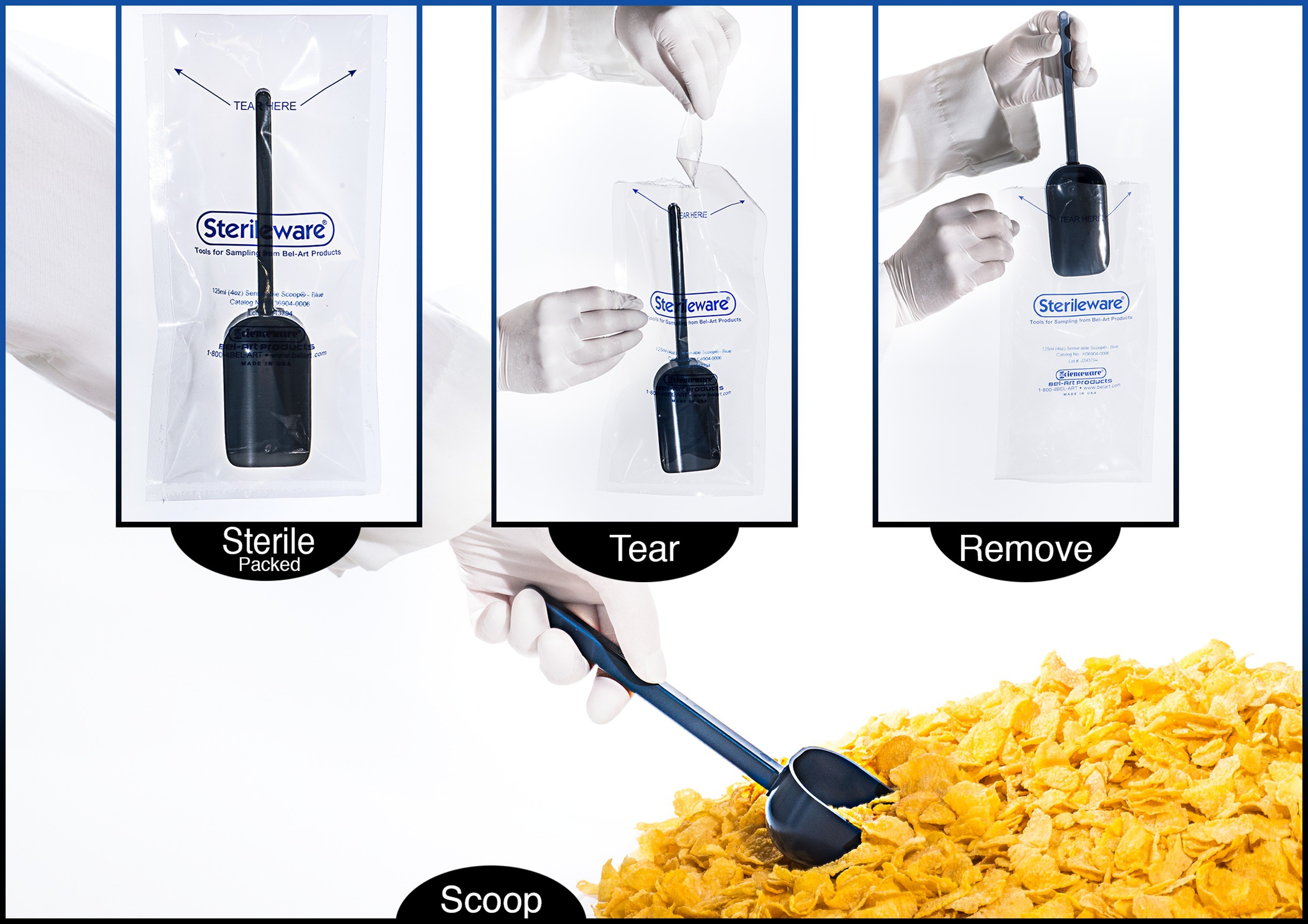 Sterileware Sense-able Scoops Metal Detectable, Sterile Sampling Tools