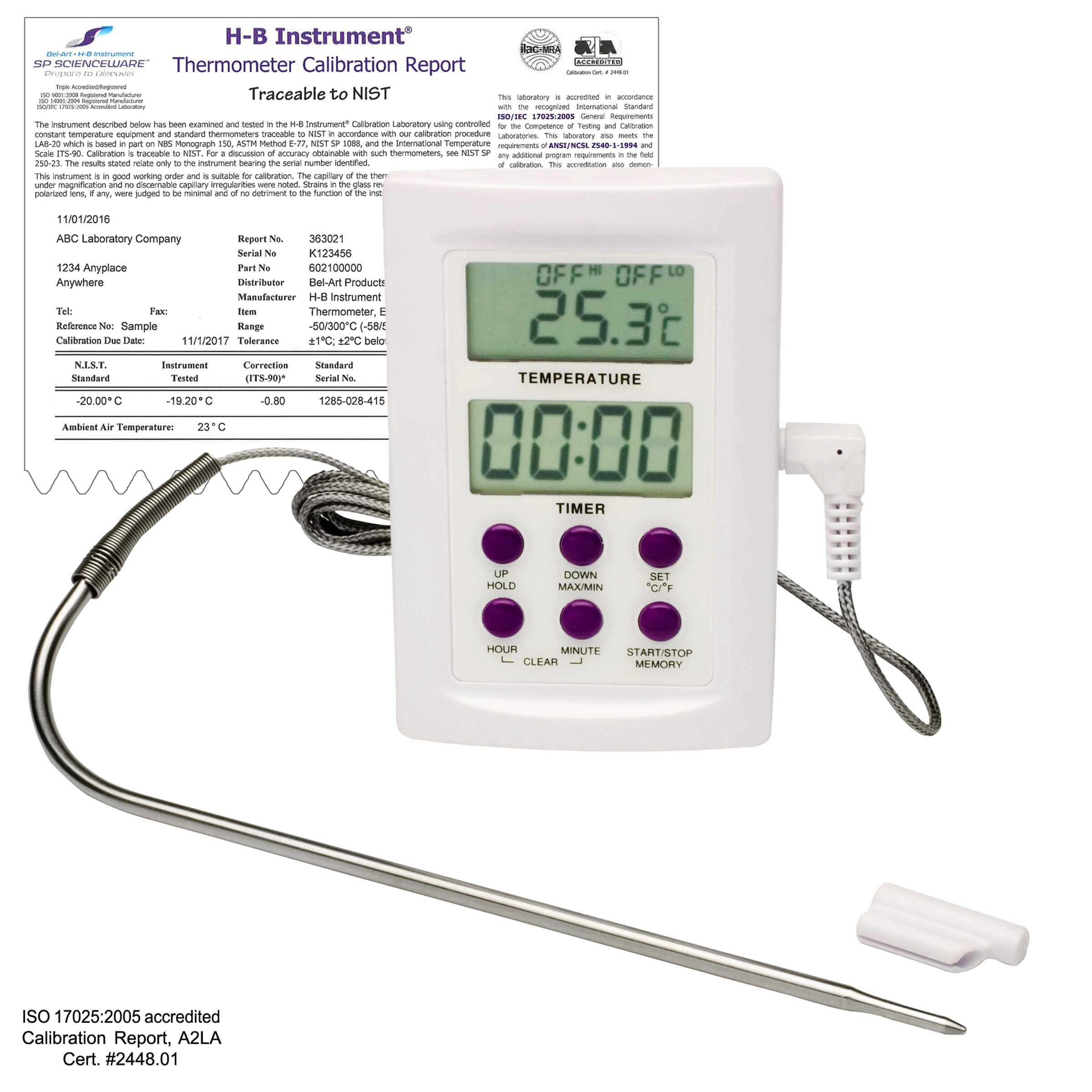 SP Bel-Art, H-B DURAC Calibrated Electronic Thermometer with Stainless Steel Probe; -50/300C (-58/572F), 22C Ambient Calibration, 64 x 95mm