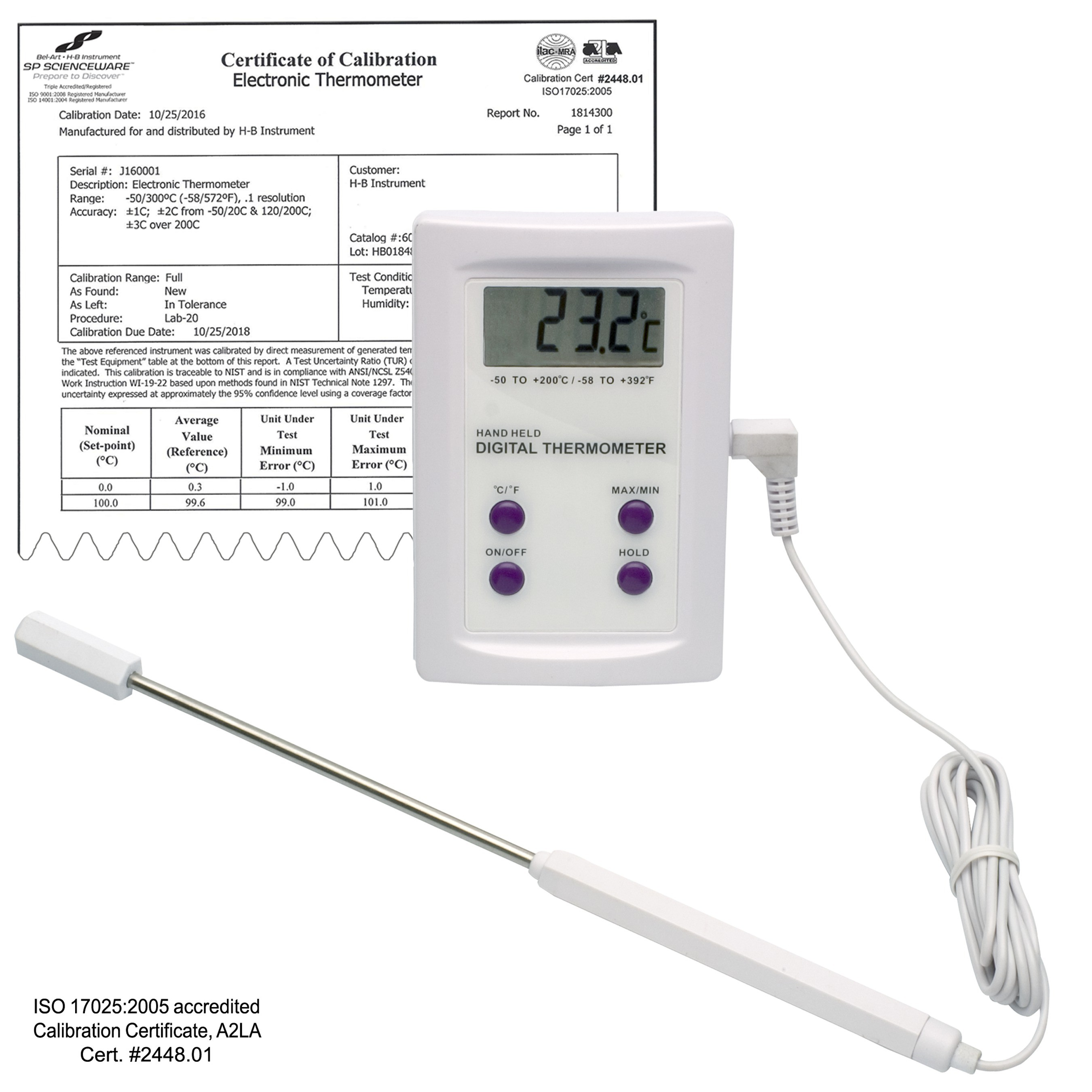 SP Bel-Art, H-B DURAC Calibrated Electronic Thermometer with Stainless Steel Probe; -50/200C (-58/392F), 63 x 97mm