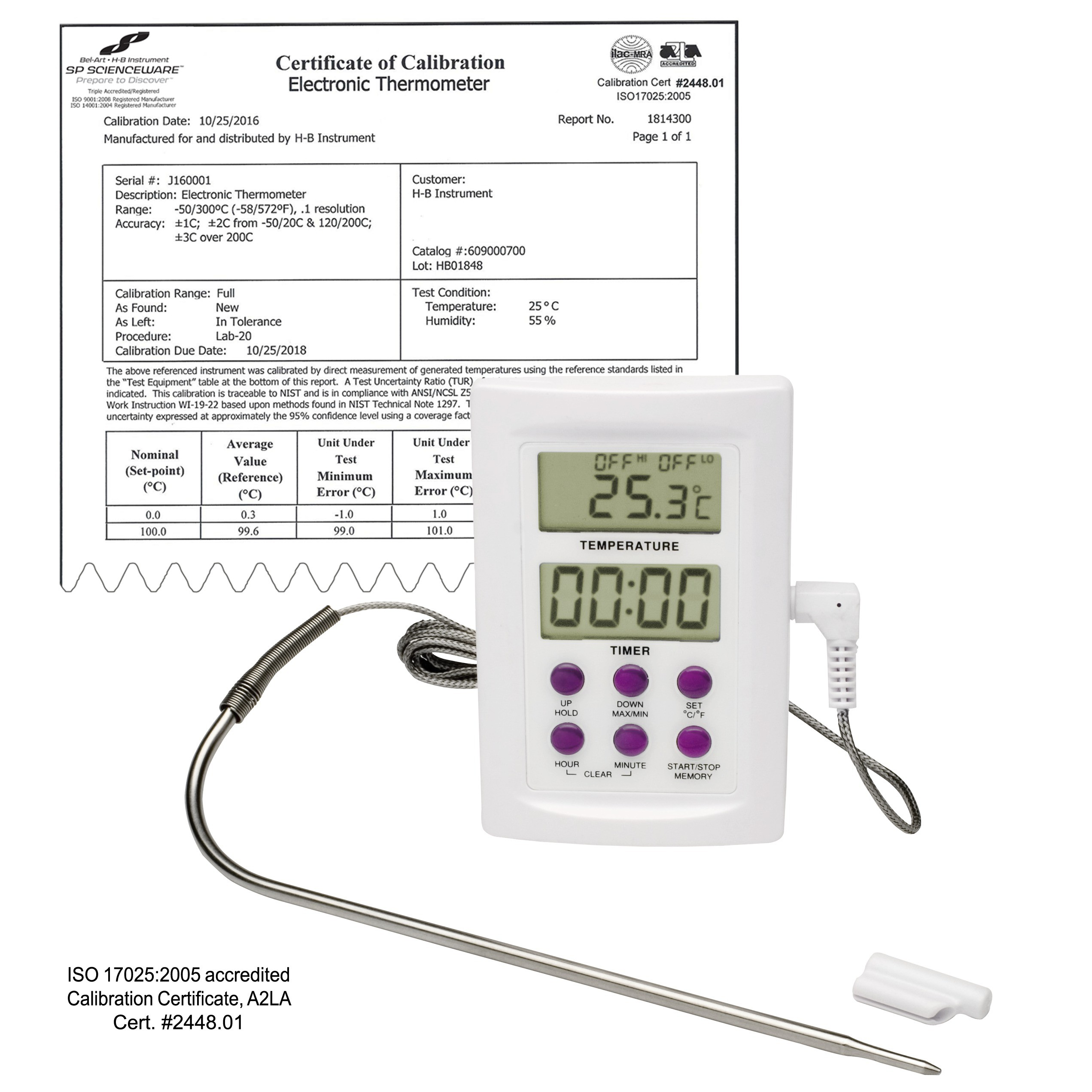 SP Bel-Art, H-B DURAC Calibrated Electronic Thermometer with Stainless Steel Probe; -50/300C (-58/572F), 64 x 95mm
