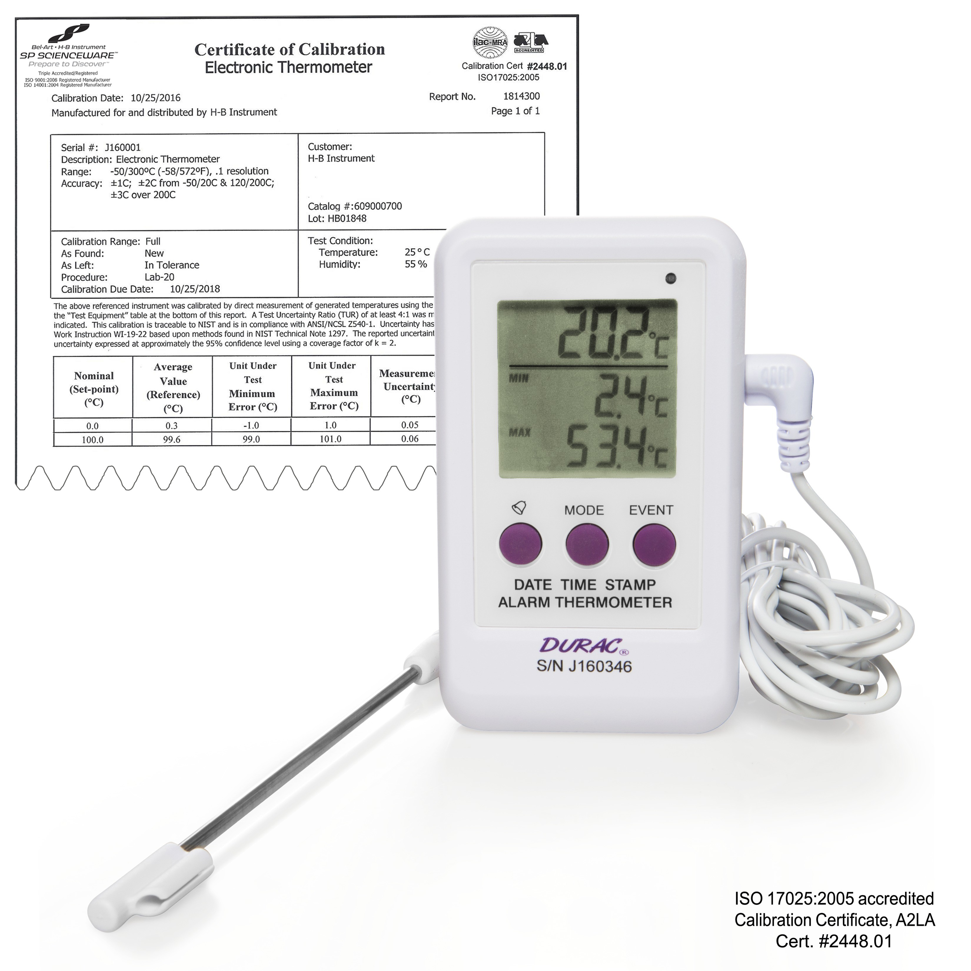 SP Bel-Art, H-B DURAC Calibrated Electronic Thermometer / Event Logger with Stainless Steel Probe; -50/200C (-58/392F), 65 x 110mm