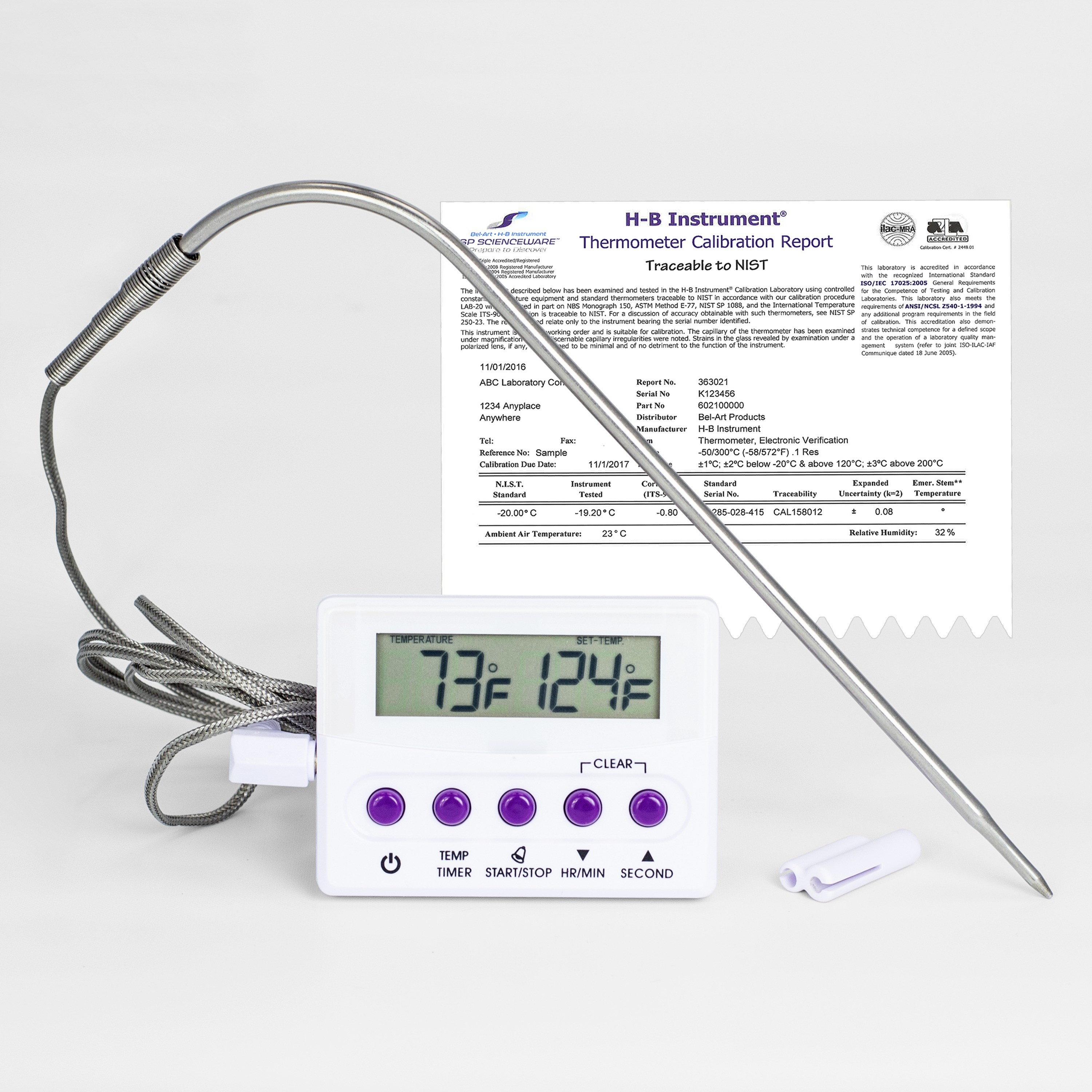 SP Bel-Art, H-B DURAC Calibrated Electronic Thermometer with Stainless Steel Probe; -50/300C (-58/572F), 51 x 18mm
