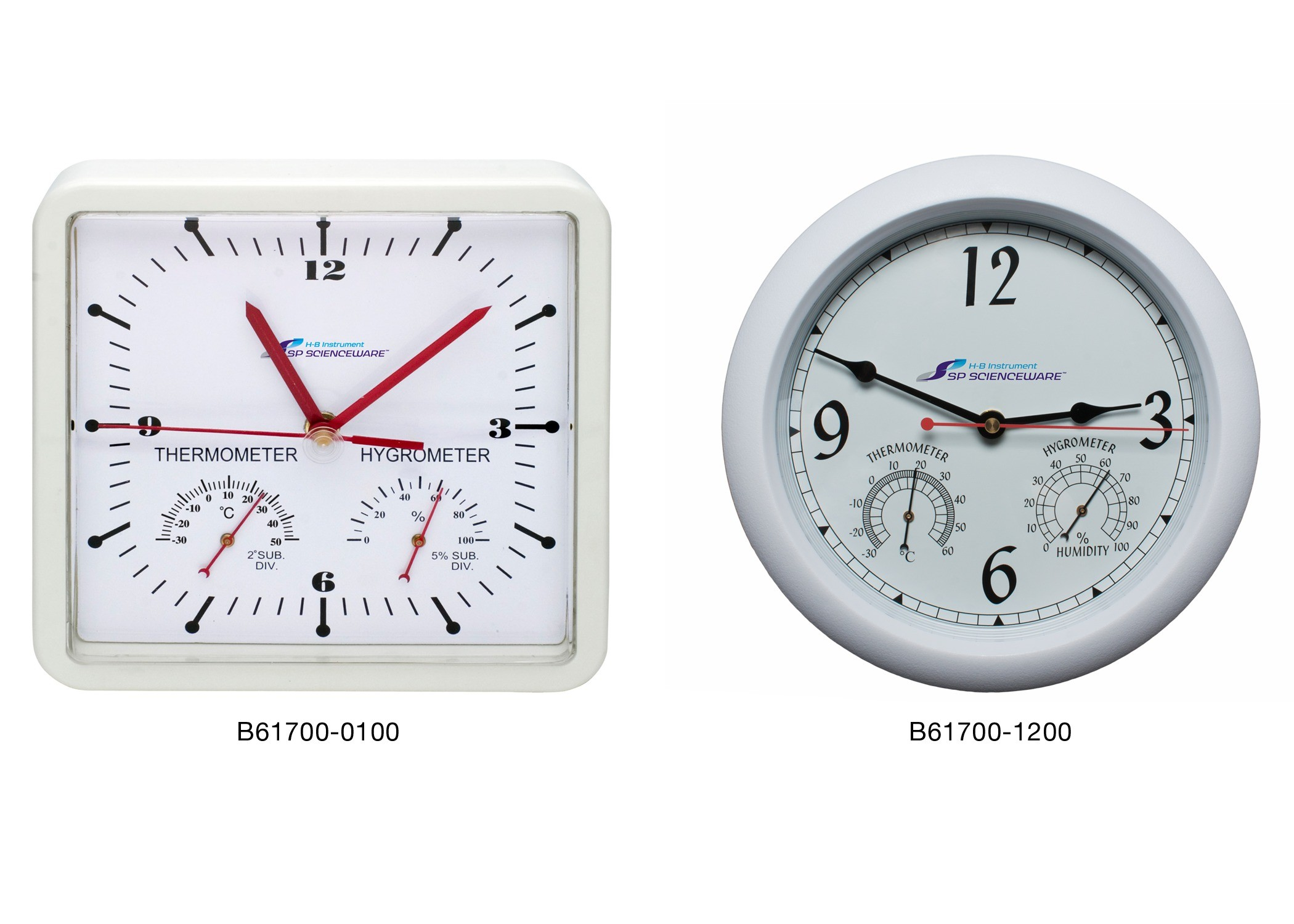 H-B DURAC Thermometer-Hygrometer Clocks