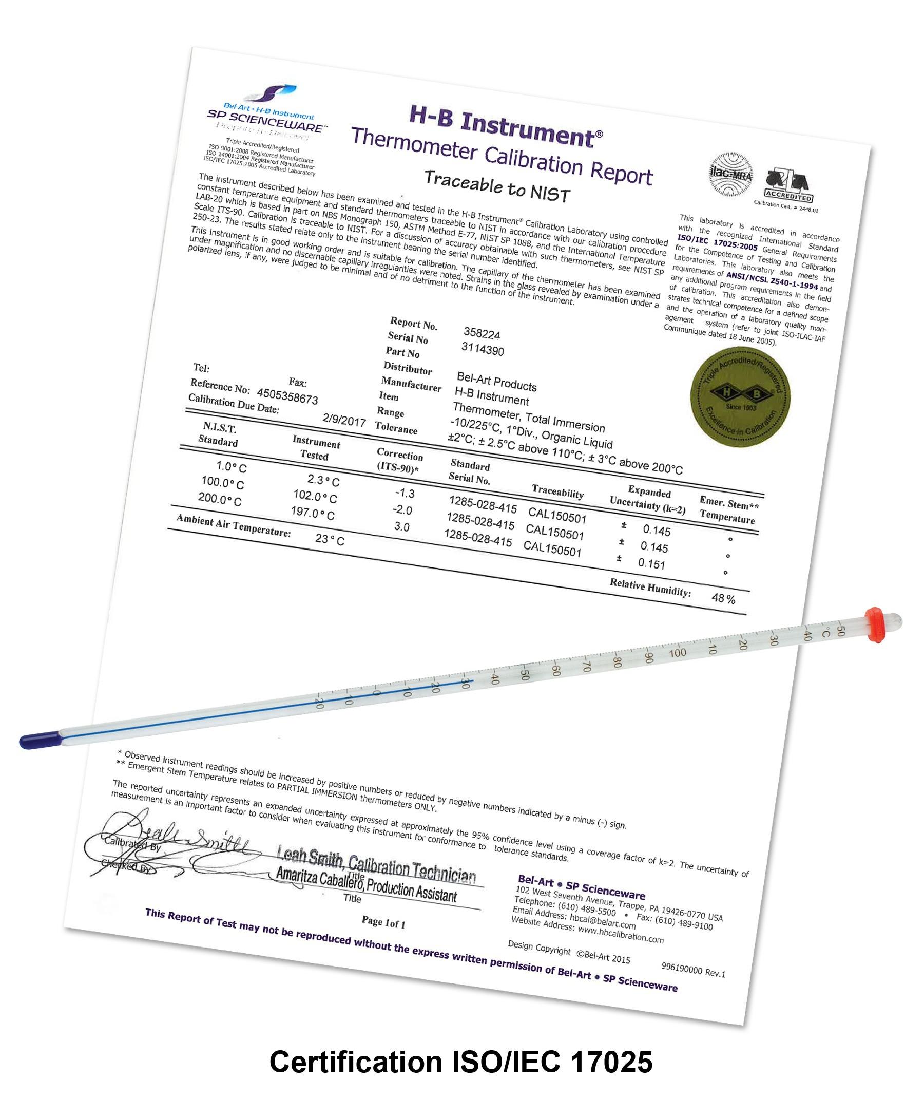 H-B DURAC Plus Calibrated Liquid-In-Glass Laboratory Thermometer; 1 to 61C, 76mm Immersion, Organic Liquid Fill