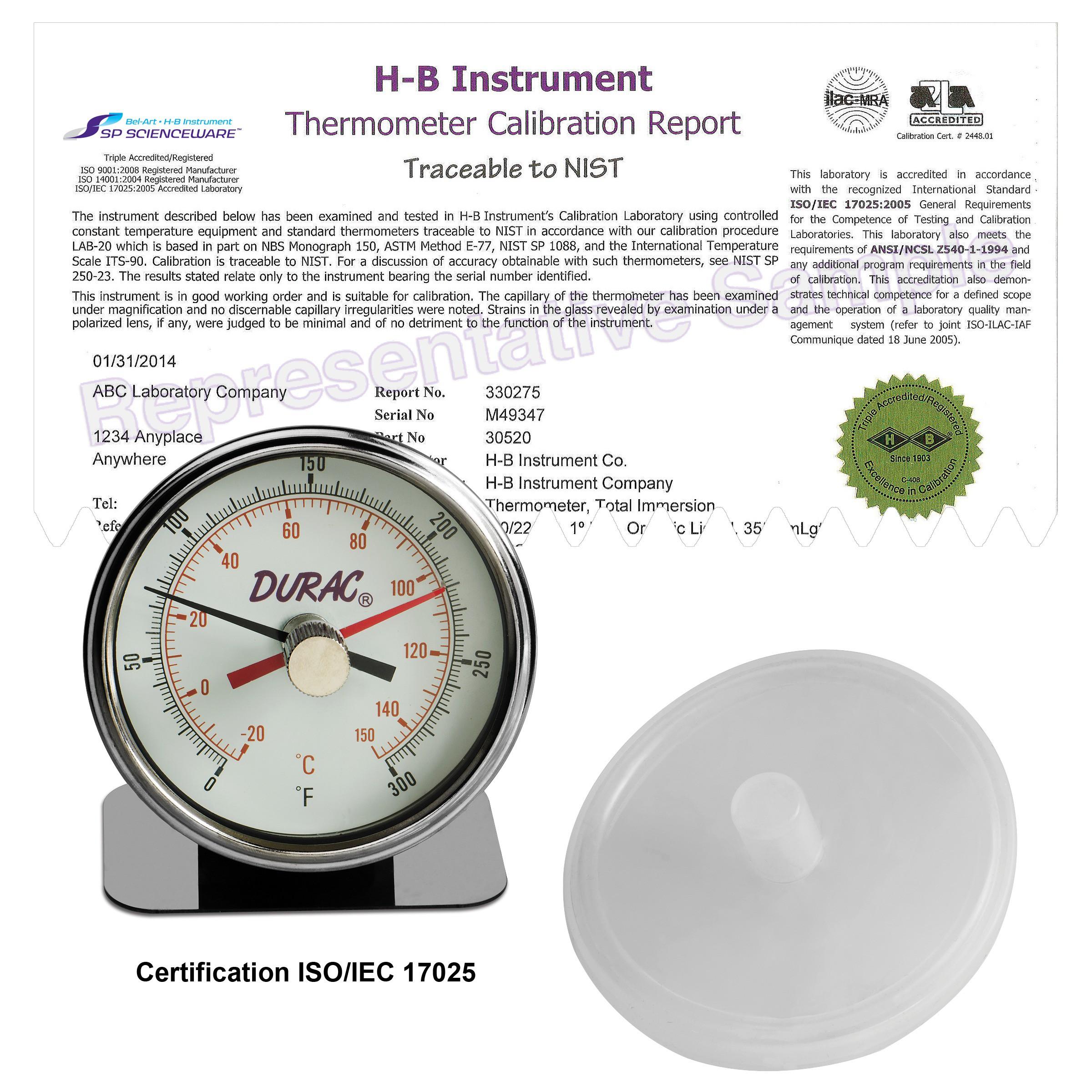 H-B DURAC Maximum Registering / Autoclave Bi-Metal Thermometer; -20 to 150C (0 to 300F), Individual Calibration Report