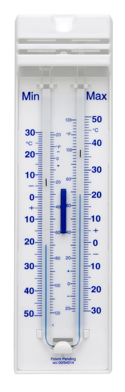 SP Bel-Art, H-B DURAC Liquid-In-Glass Maximum/Minimum Thermometer; -35 to 50C (-30 to 120F), Organic Liquid Fill