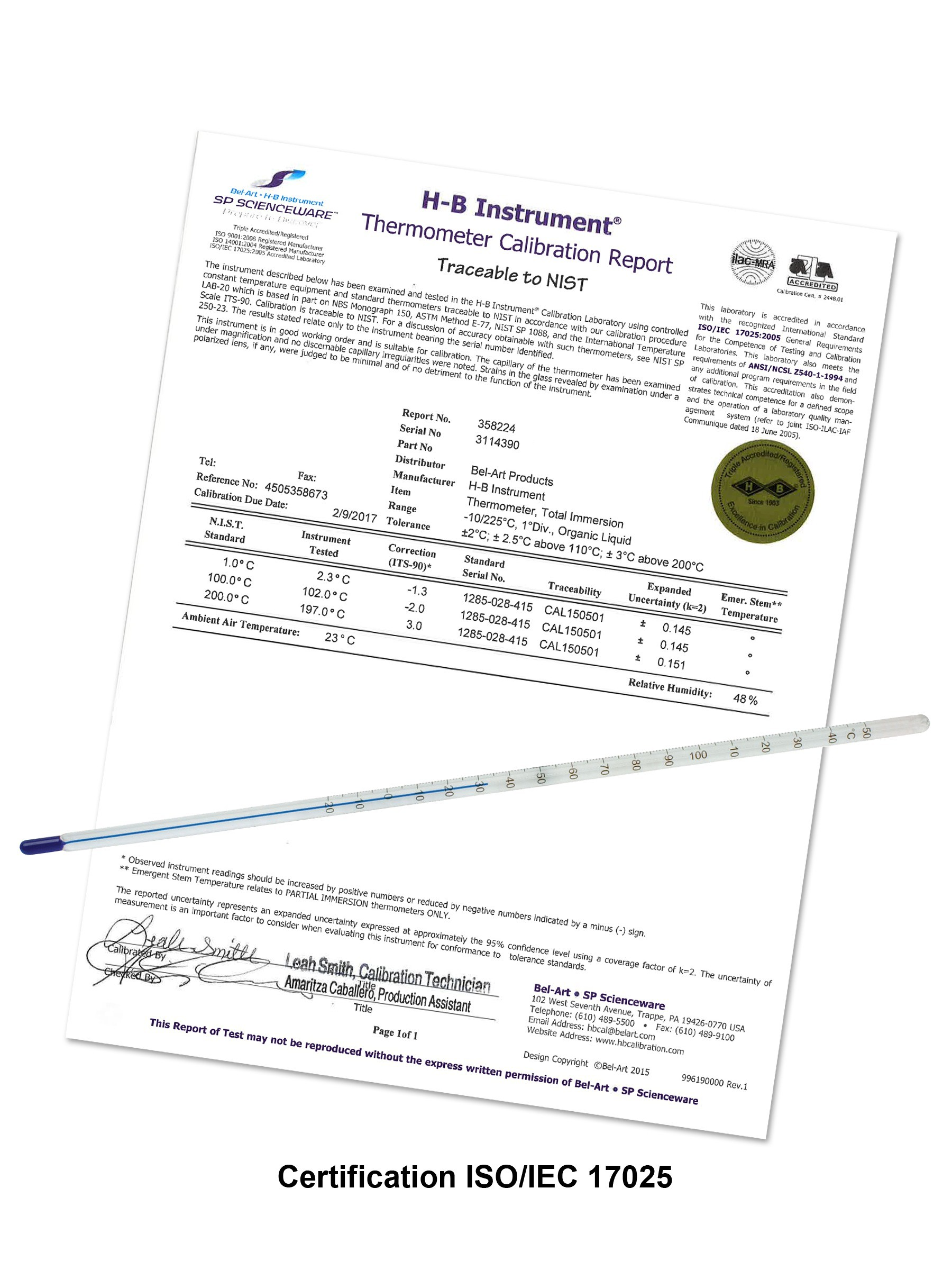 H-B DURAC® Plus™ Individually Calibrated ASTM Liquid-In-Glass Laboratory Thermometers, Organic Liquid Fill