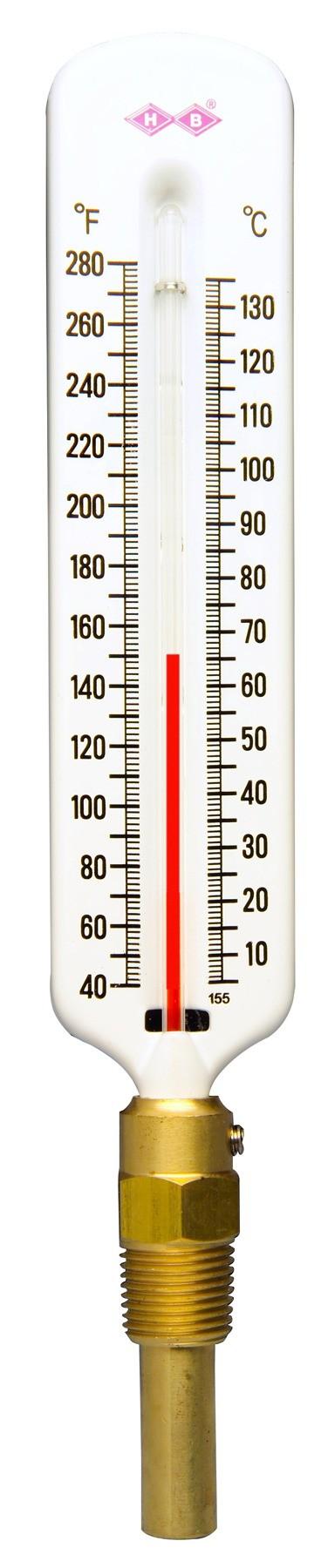H-B DURAC Hot Water/Refrigerant Line Liquid-In-Glass Thermometers; Organic Liquid Fill
