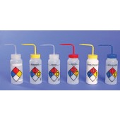 4-Color Wash Bottles – Right-to-Know, Safety-Labeled, Wide-Mouth