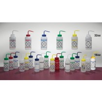 2-Color Wash Bottles – Safety-Labeled, Wide-Mouth
