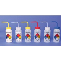 4-Color Wash Bottles – Right-to-Know, Safety-Vented and Safety-Labeled, Wide-Mouth