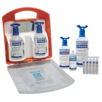 Aero Emergency Eye Wash Solution; Buffered pH Neutralizing, Stations and Bottles